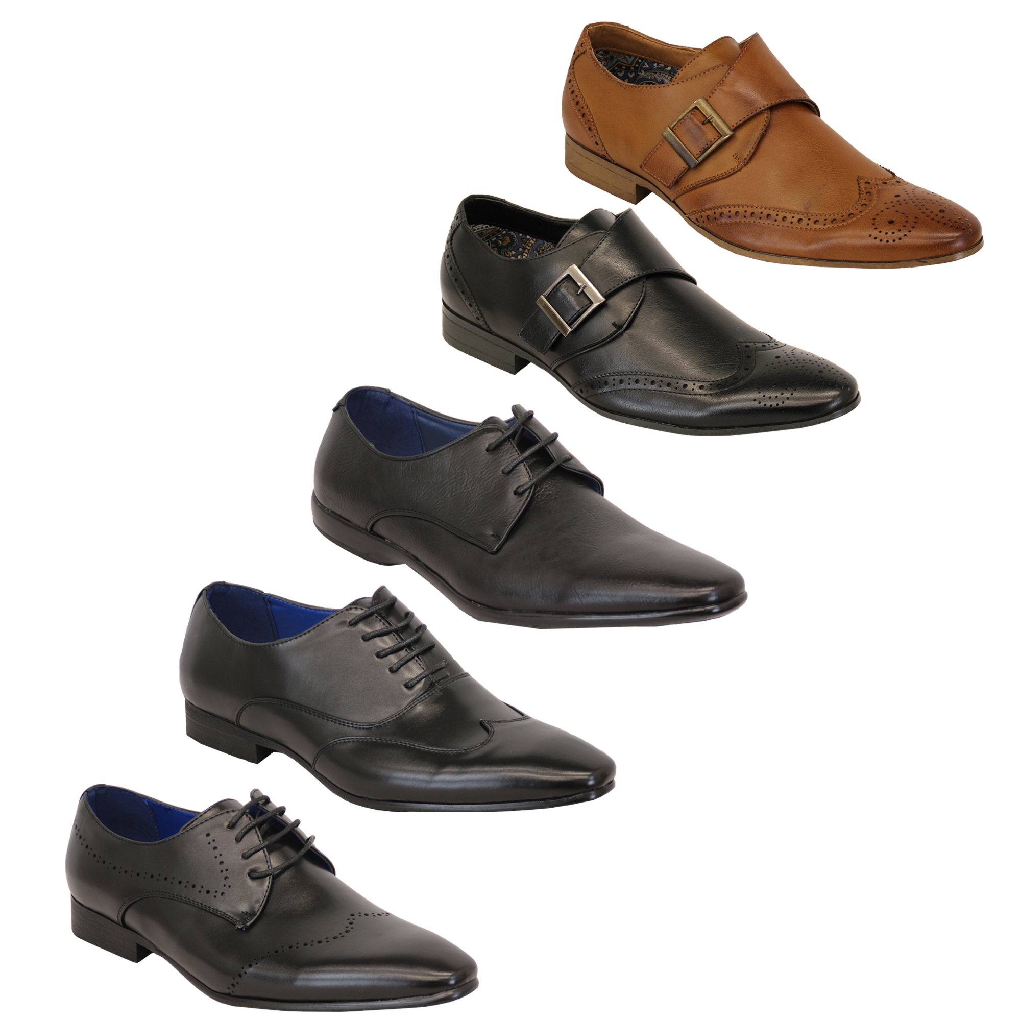 Mens Leather Look Brogue Buckle Italian Pointed Casual Formal Shoes