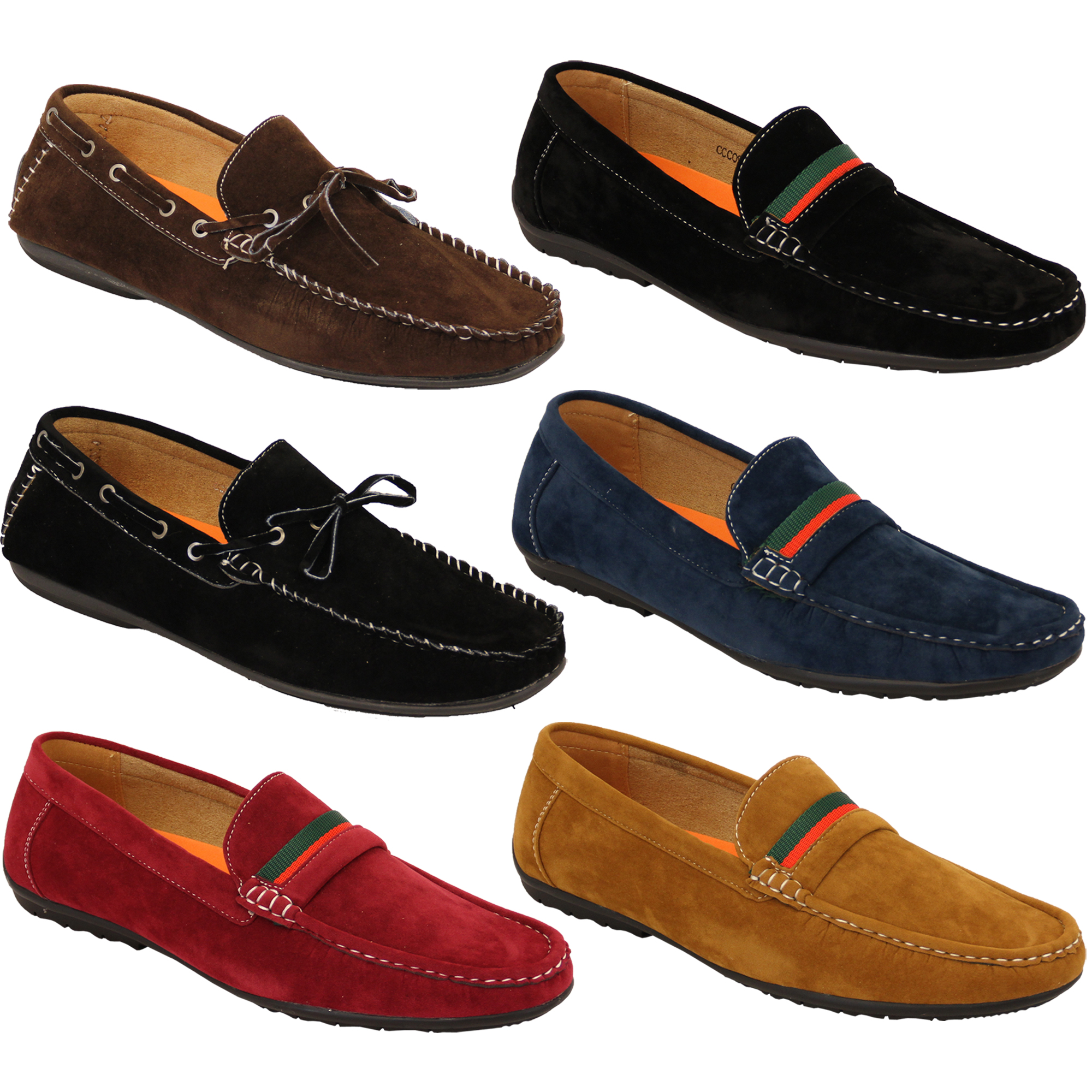 Mens Moccasins Suede Look Driving Loafers Slip On Boat Shoes Ribbon Tassle New Ebay