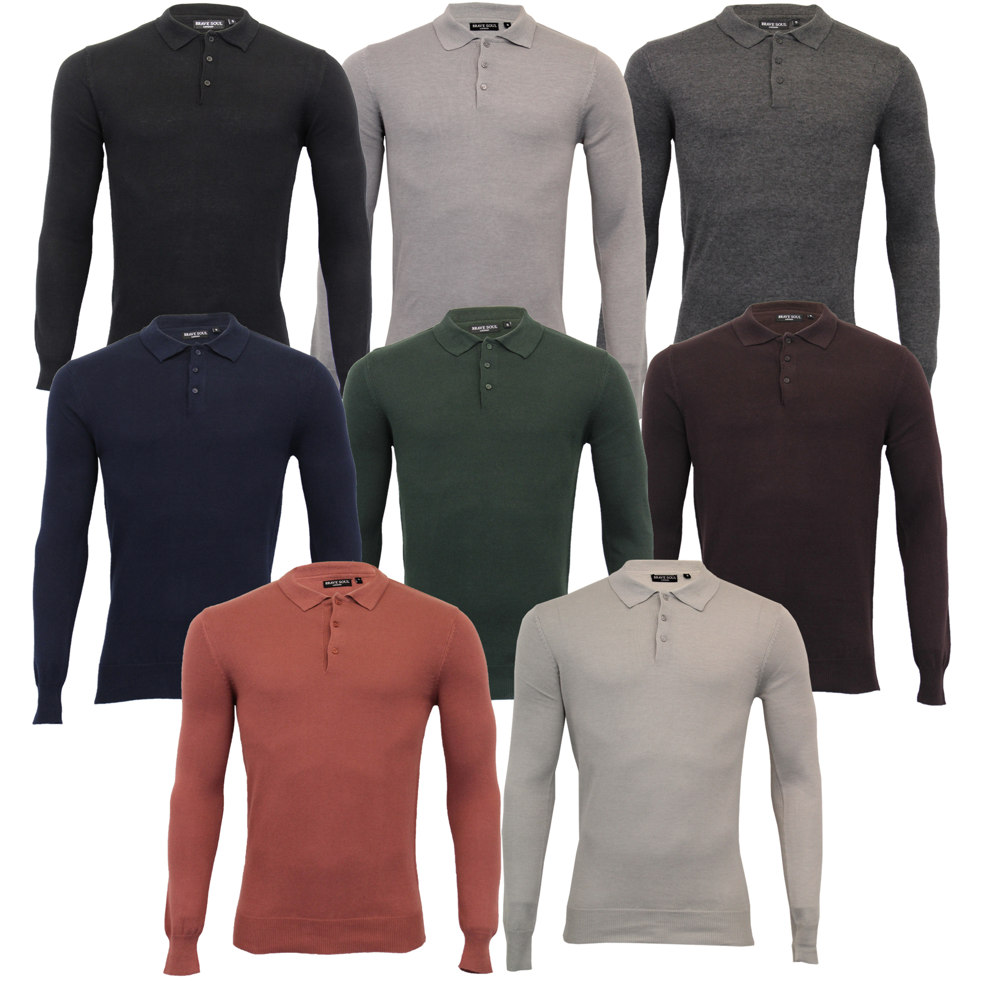 Mens-Knitted-Jumper-Brave-Soul-Polo-Top-Sweater-PLACKET-Pullover-Lightweight-New thumbnail 3