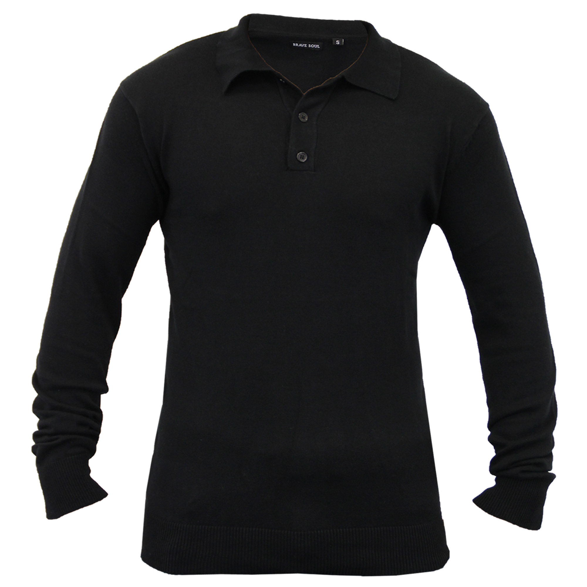 Mens-Knitted-Jumper-Brave-Soul-Polo-Top-Sweater-PLACKET-Pullover-Lightweight-New thumbnail 4