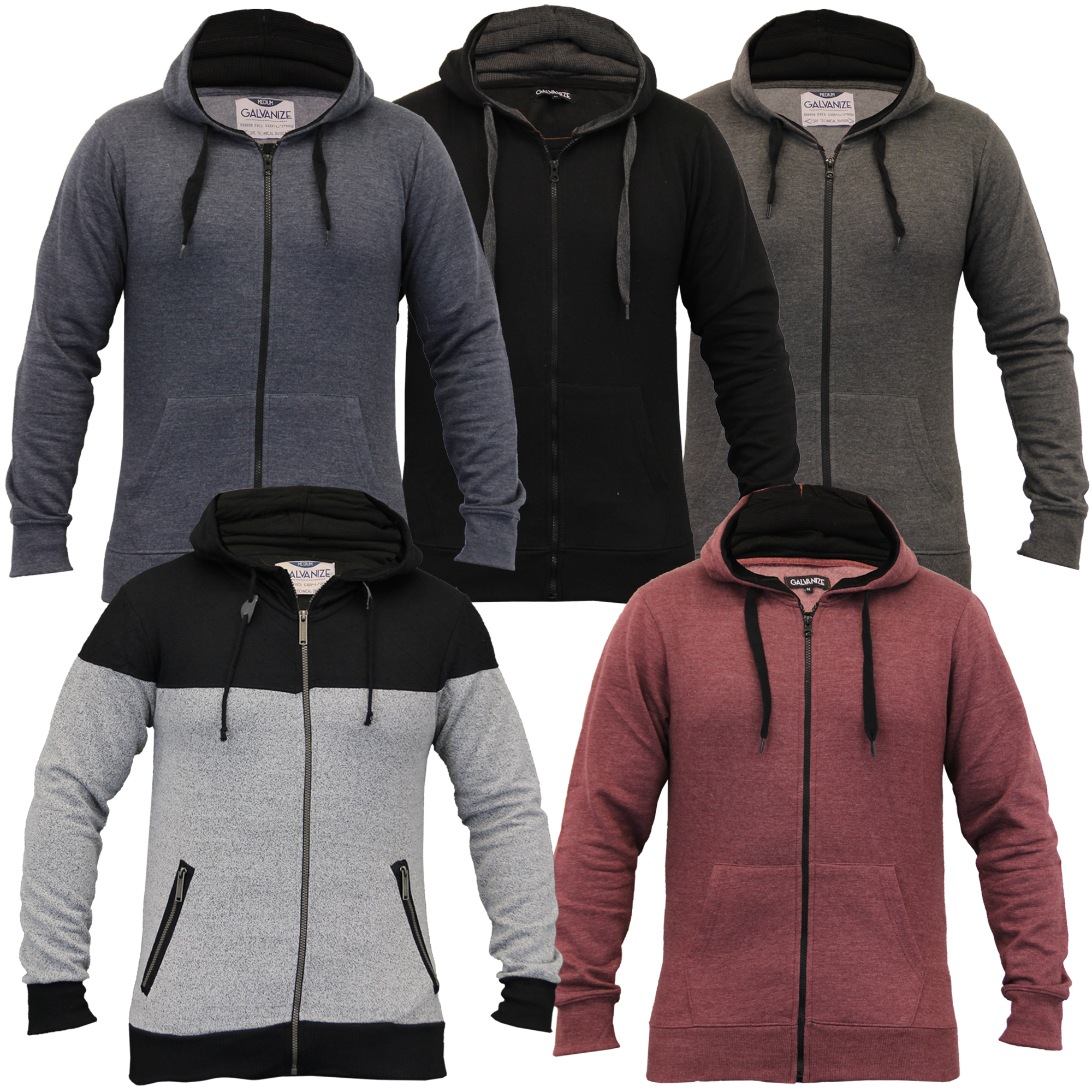 Mens-Diamond-Quilted-Hooded-Top-Fleece-Lined-Sweatshirt-By-Galvanize thumbnail 5