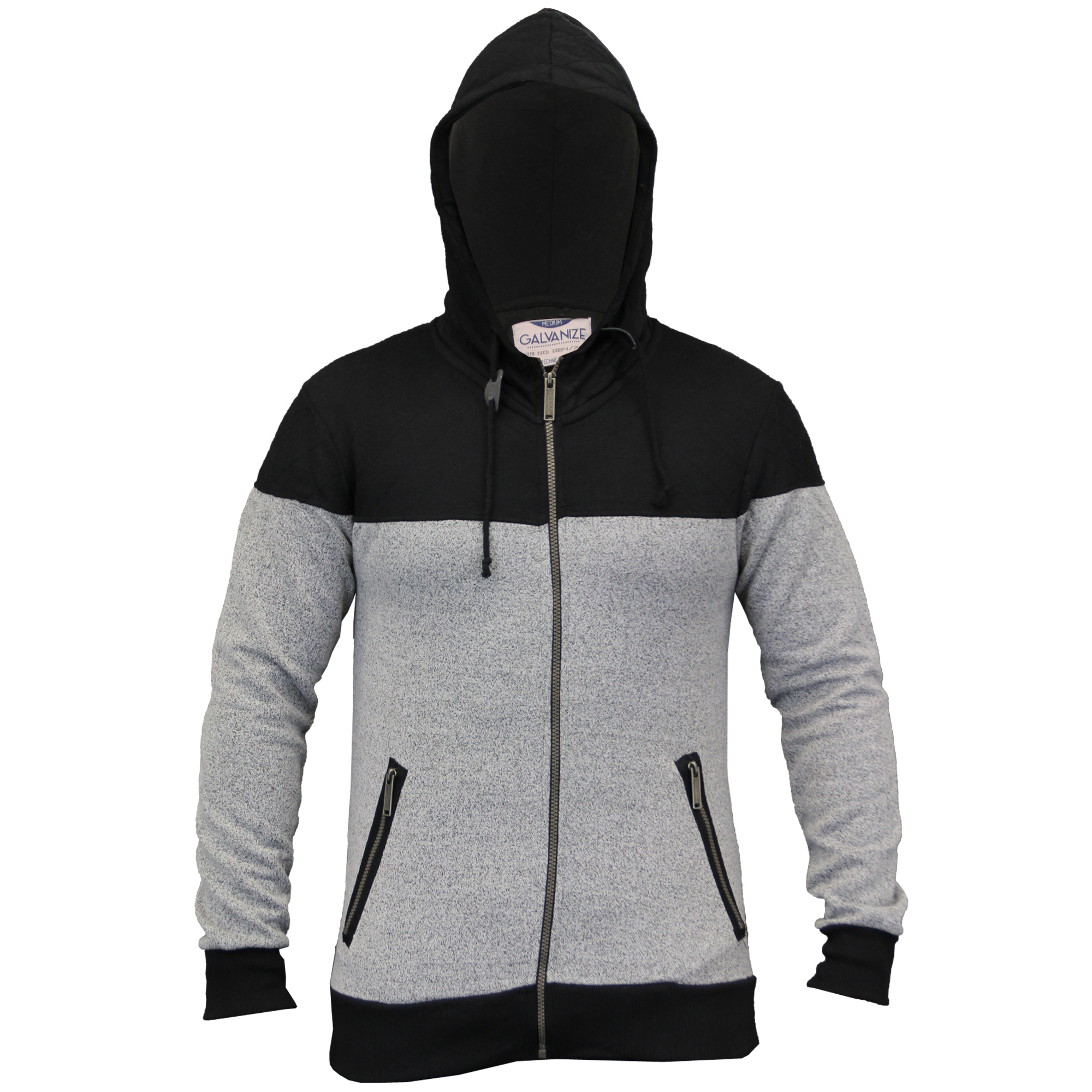 Mens-Diamond-Quilted-Hooded-Top-Fleece-Lined-Sweatshirt-By-Galvanize thumbnail 7