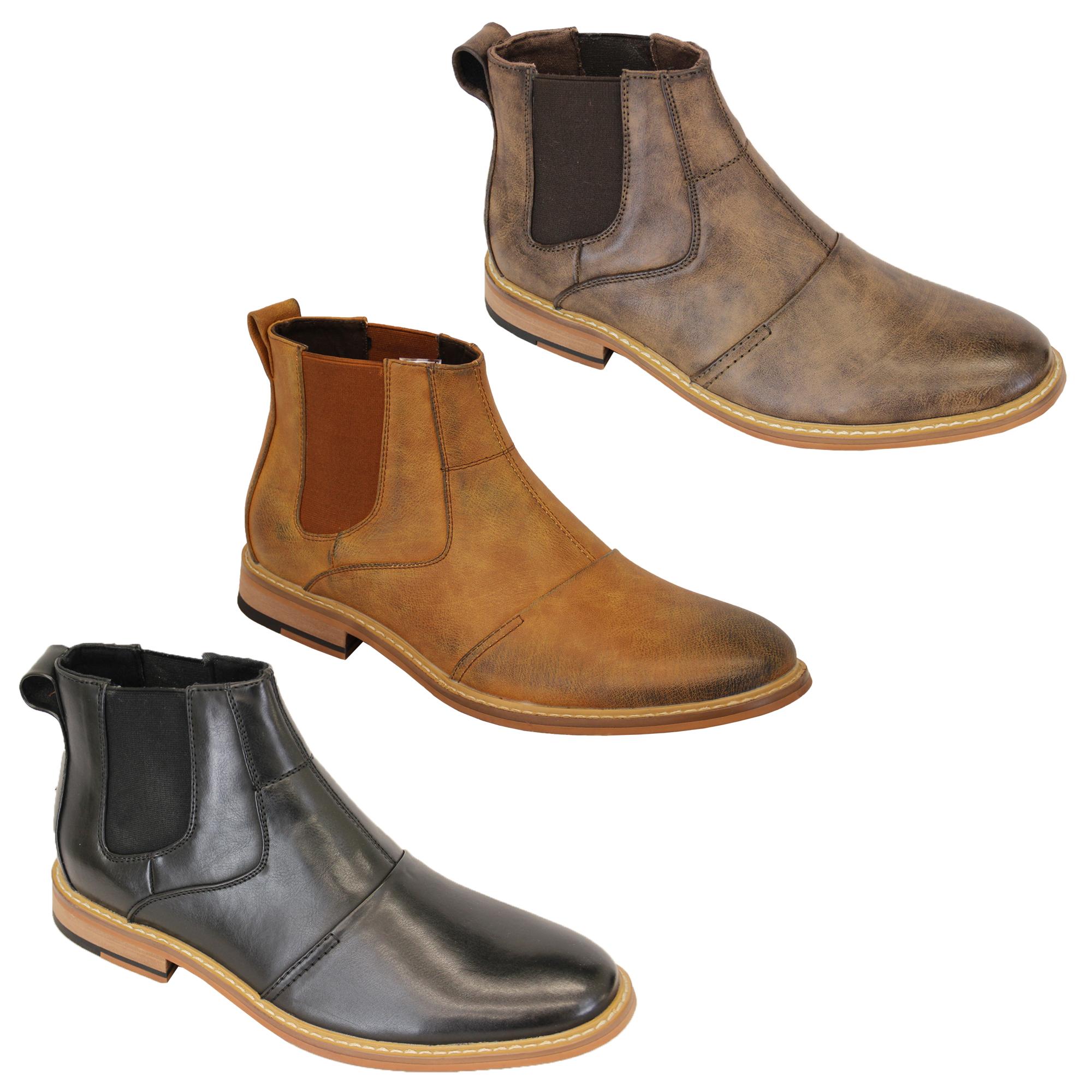 e8940dfad39a Mens Cavani Boots Chelsea Dealer Shoes High Ankle Leather Look ...