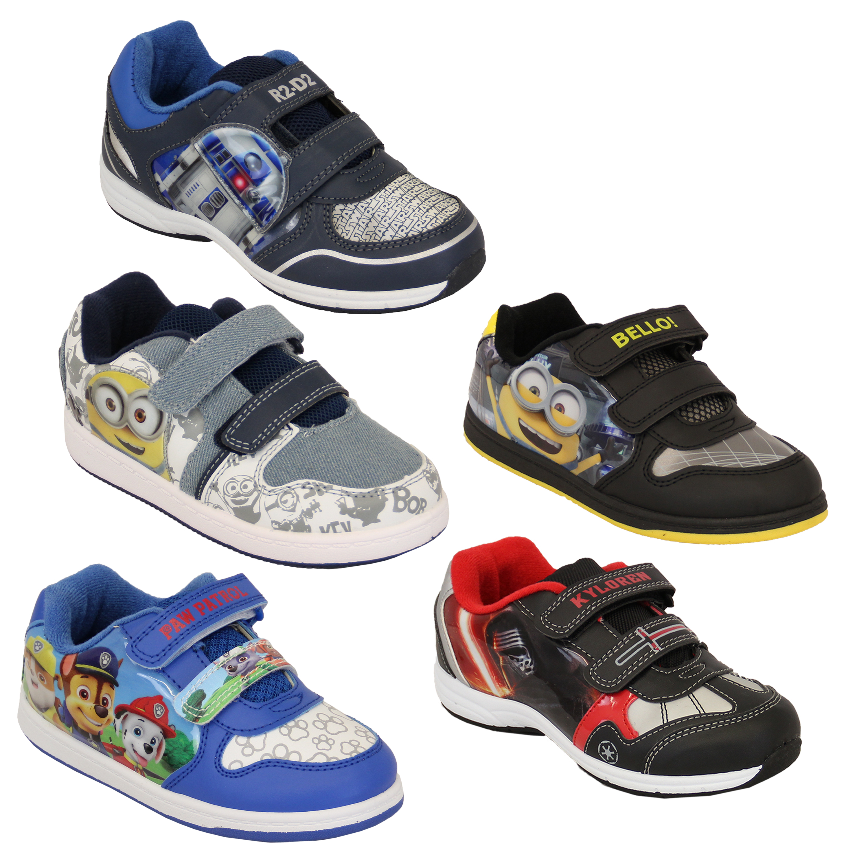 d5eb2d7d46 Boys Trainers Despicable Me Minion Star Wars Disney Shoes Kids Bello ...