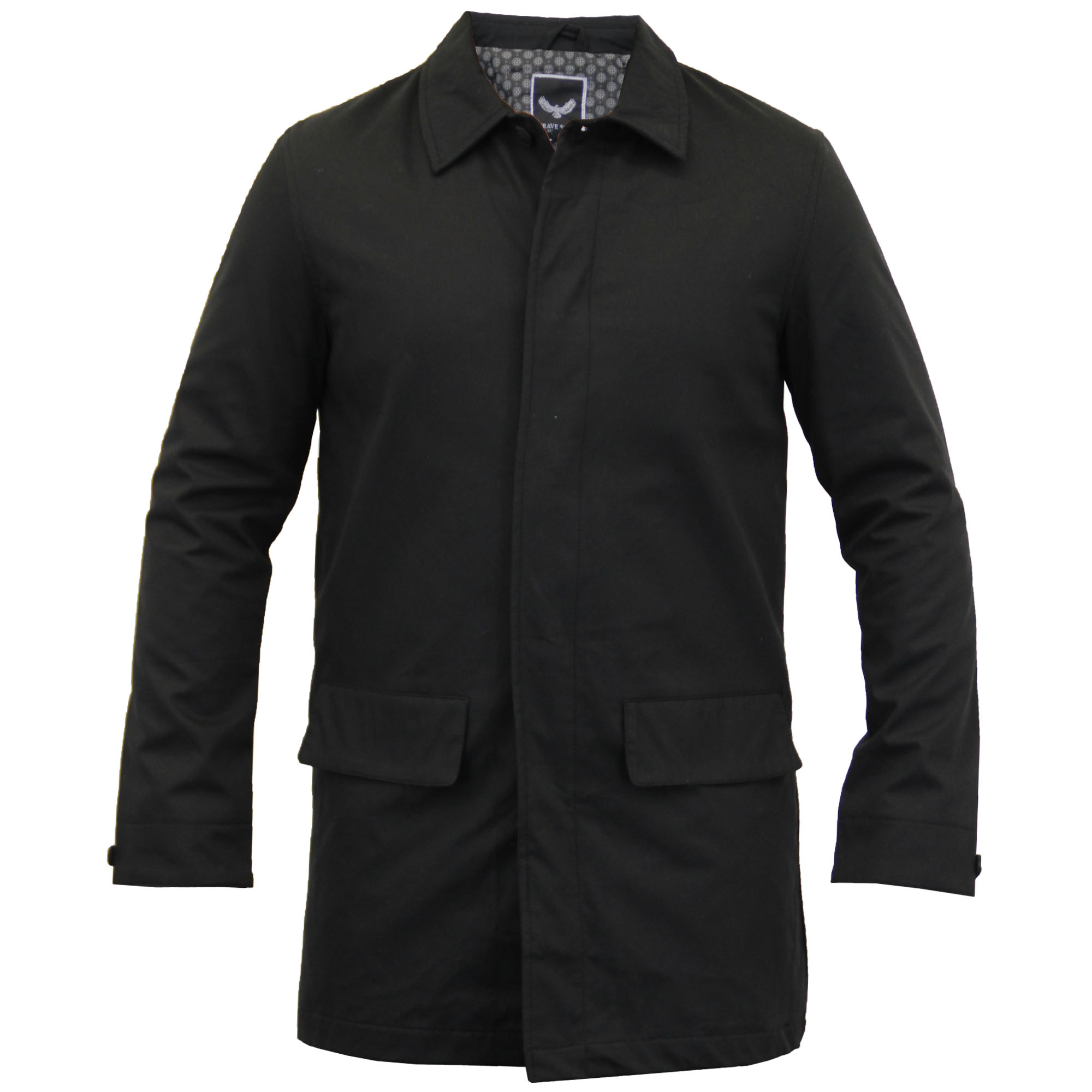 Mens jacket cotton - Mens Jackets Brave Soul Long Coat Mac Trench Cotton Smart Casual Lined Winter Stone Perth Large
