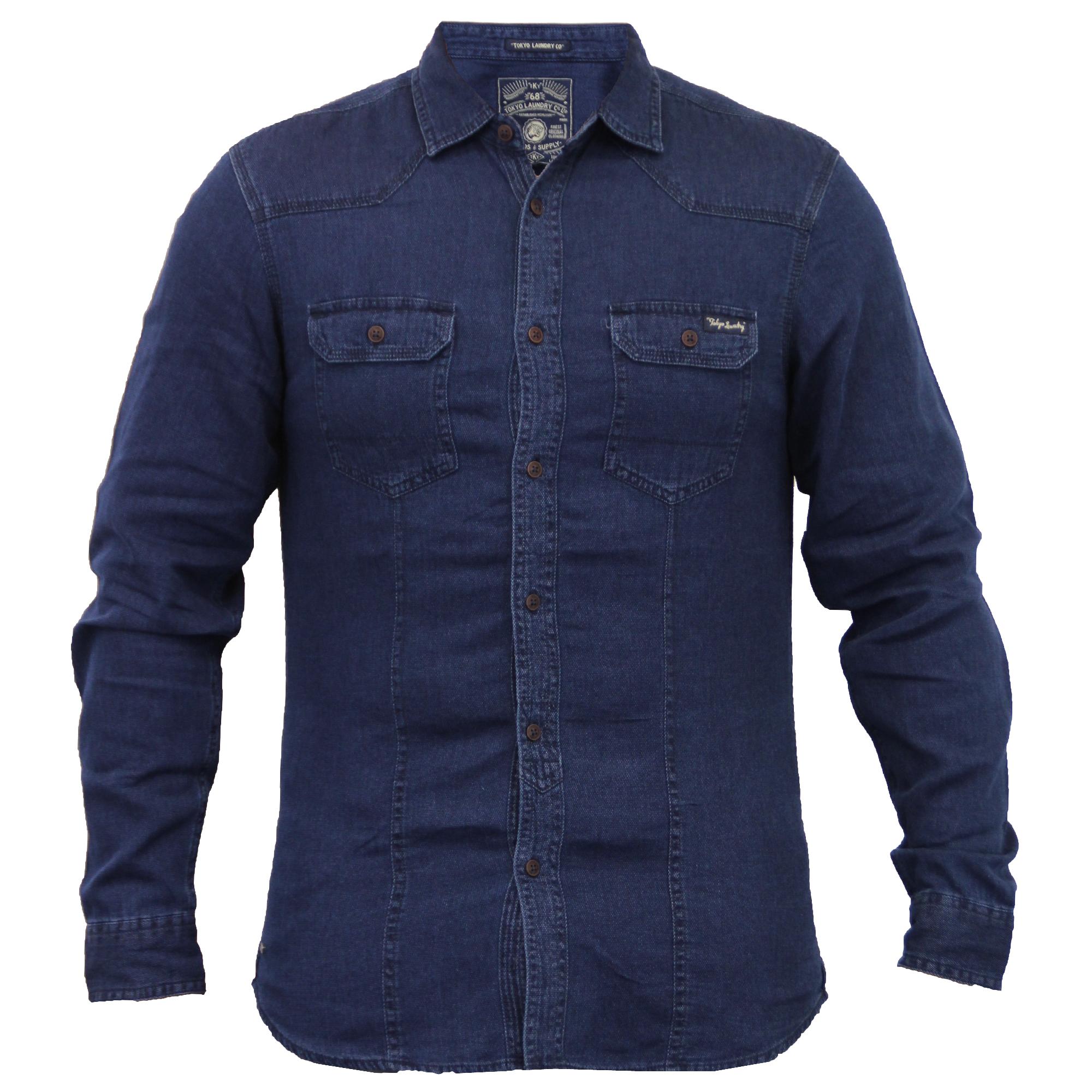 Da-Uomo-Camicie-Di-Jeans-Tokyo-Laundry-Con-Colletto-Western-a-Maniche-Lunghe-Casual-Nuovo
