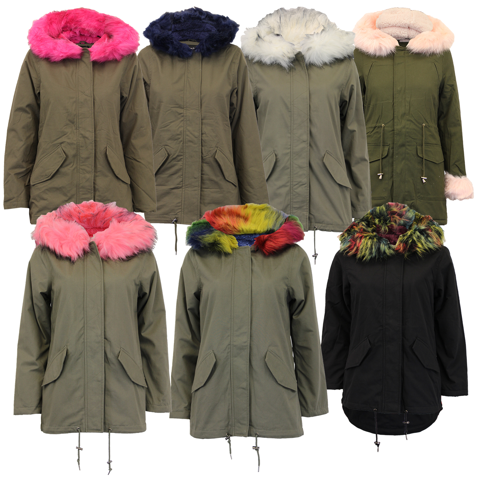 Womens Khaki Parka Coats With Fur Hood