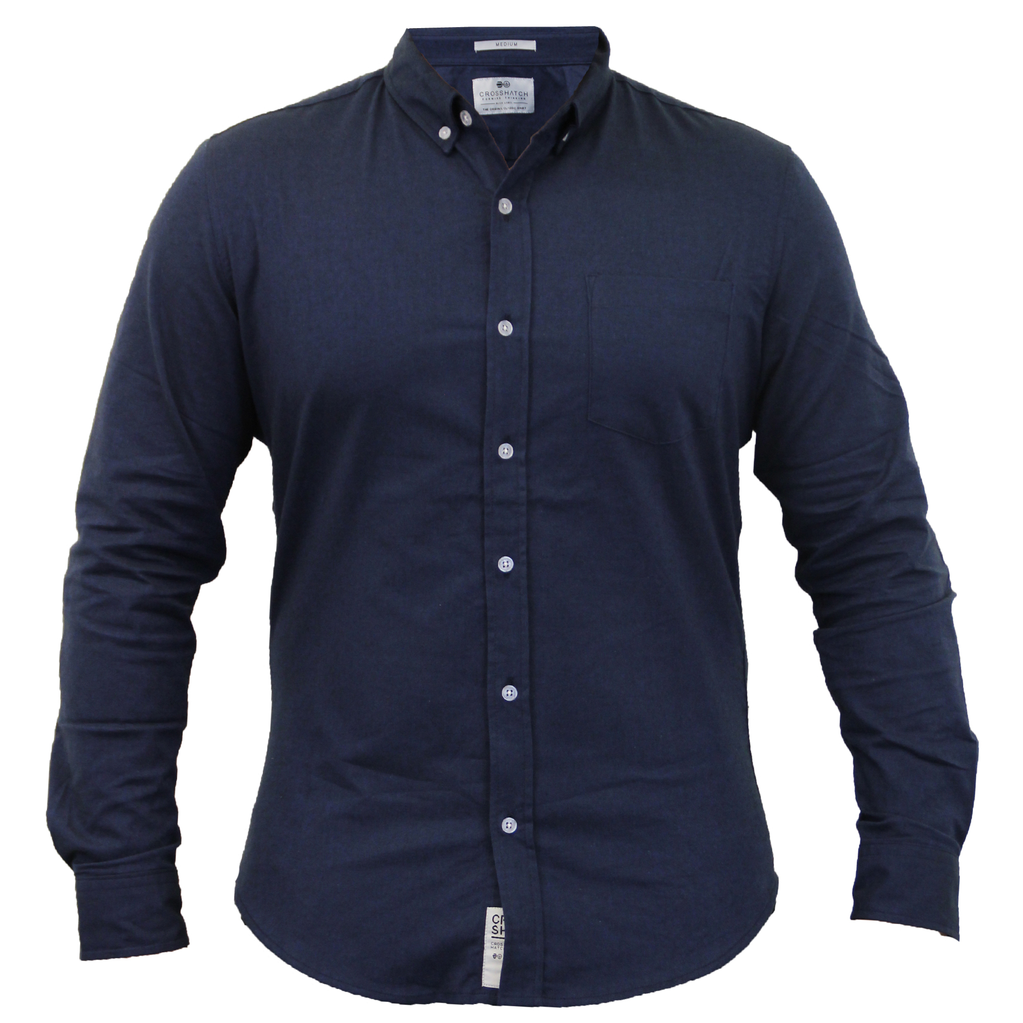 Mens cotton oxford shirts crosshatch collared long sleeved for Mens long sleeve casual cotton shirts