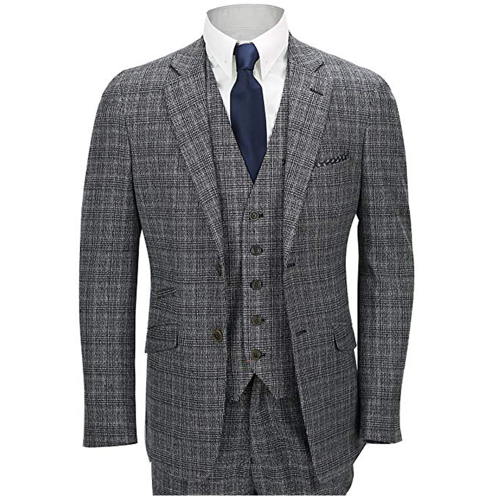 Para-hombre-Traje-de-3-piezas-de-verificacion-Cavani-Disenador-Tweed-Blazers-Slim-Fit-Pantalon miniatura 3