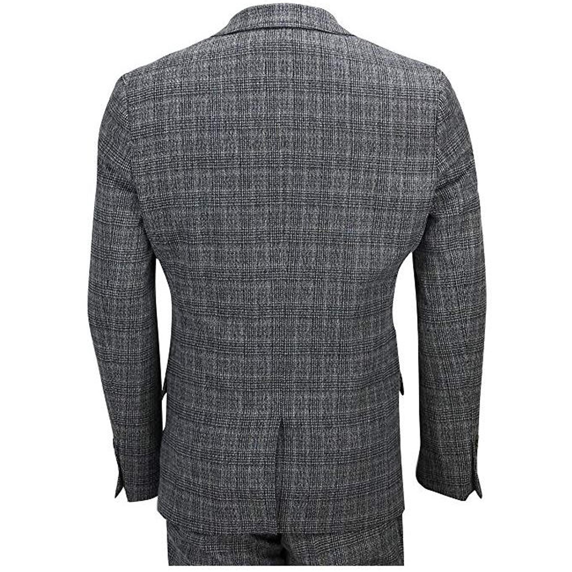 Para-hombre-Traje-de-3-piezas-de-verificacion-Cavani-Disenador-Tweed-Blazers-Slim-Fit-Pantalon miniatura 4