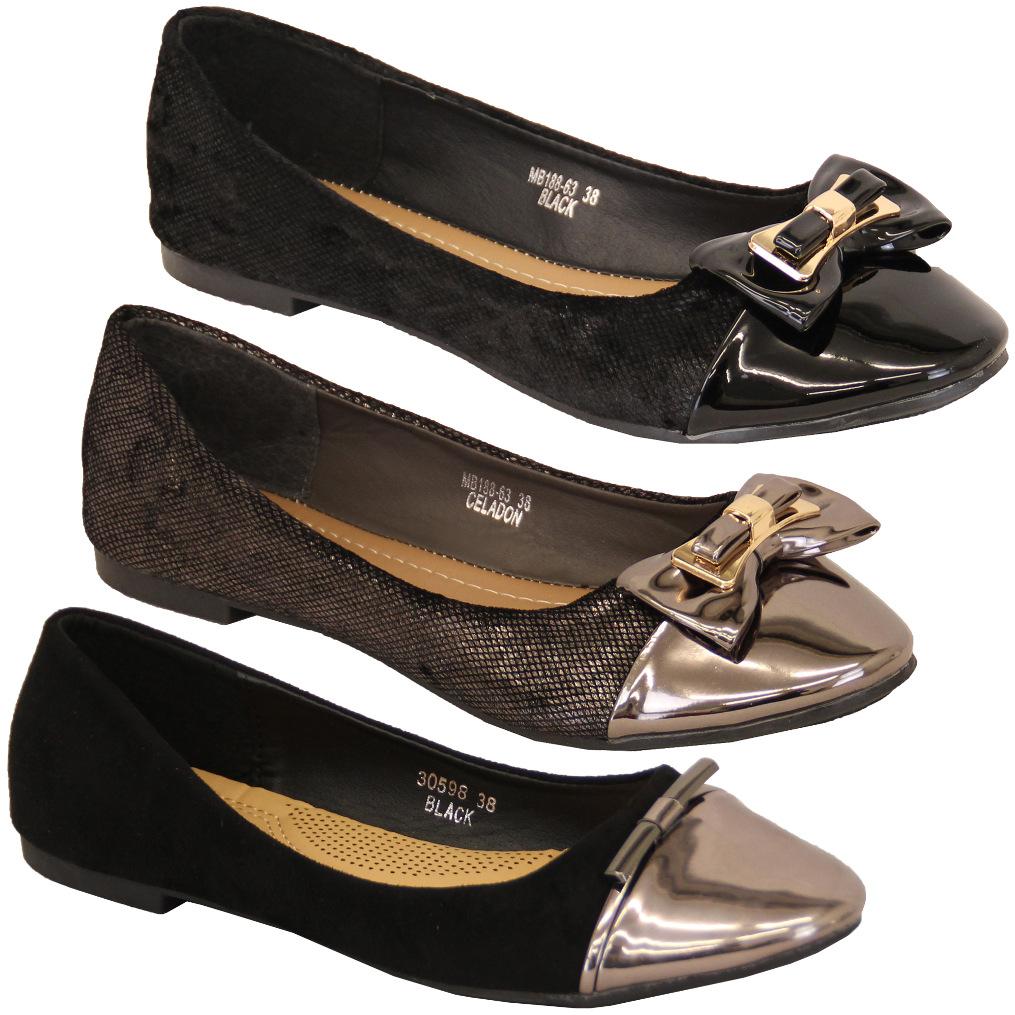 410016b6c Details about Ladies Ballerina Shoes Womens Flat Pumps Slip On Patent Bow Casual  Fashion New