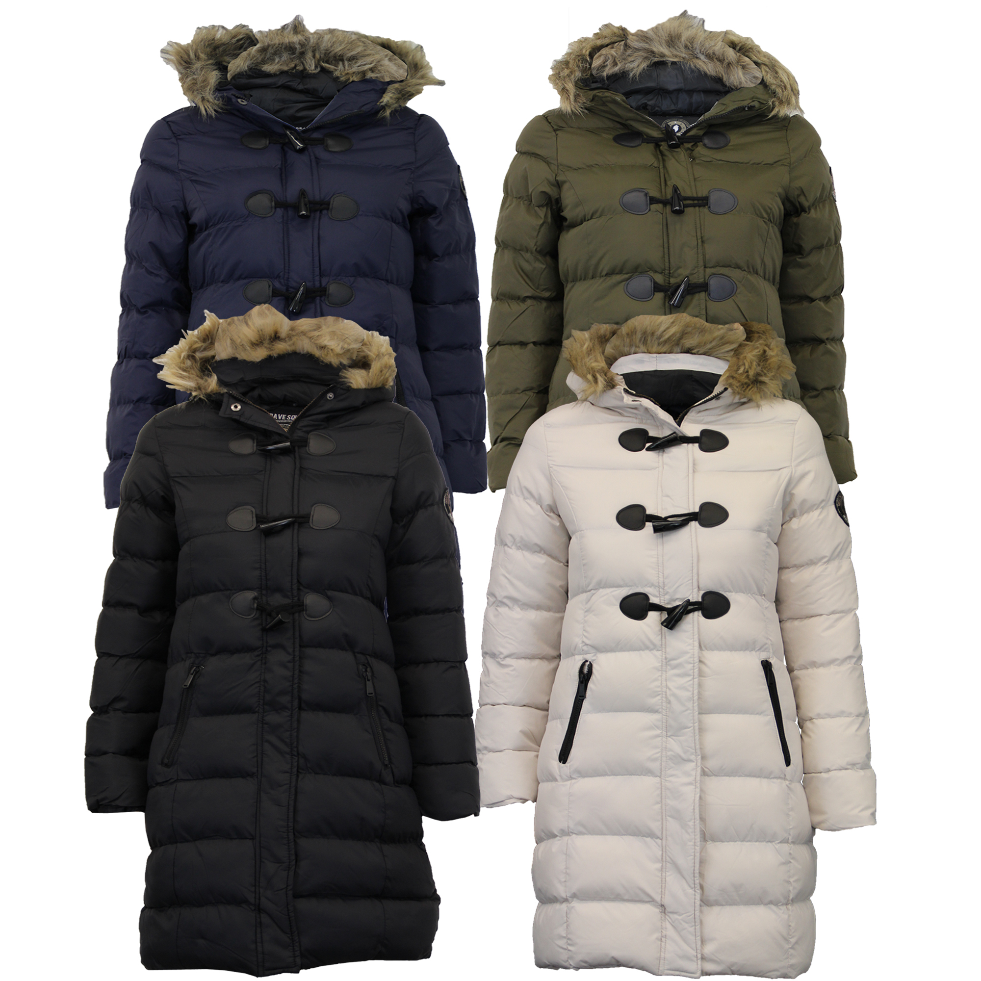 Ladies-Long-Parka-Bubble-Jacket-Brave-Soul-Womens-Coat-Padded-Hooded-Fur-Quilted