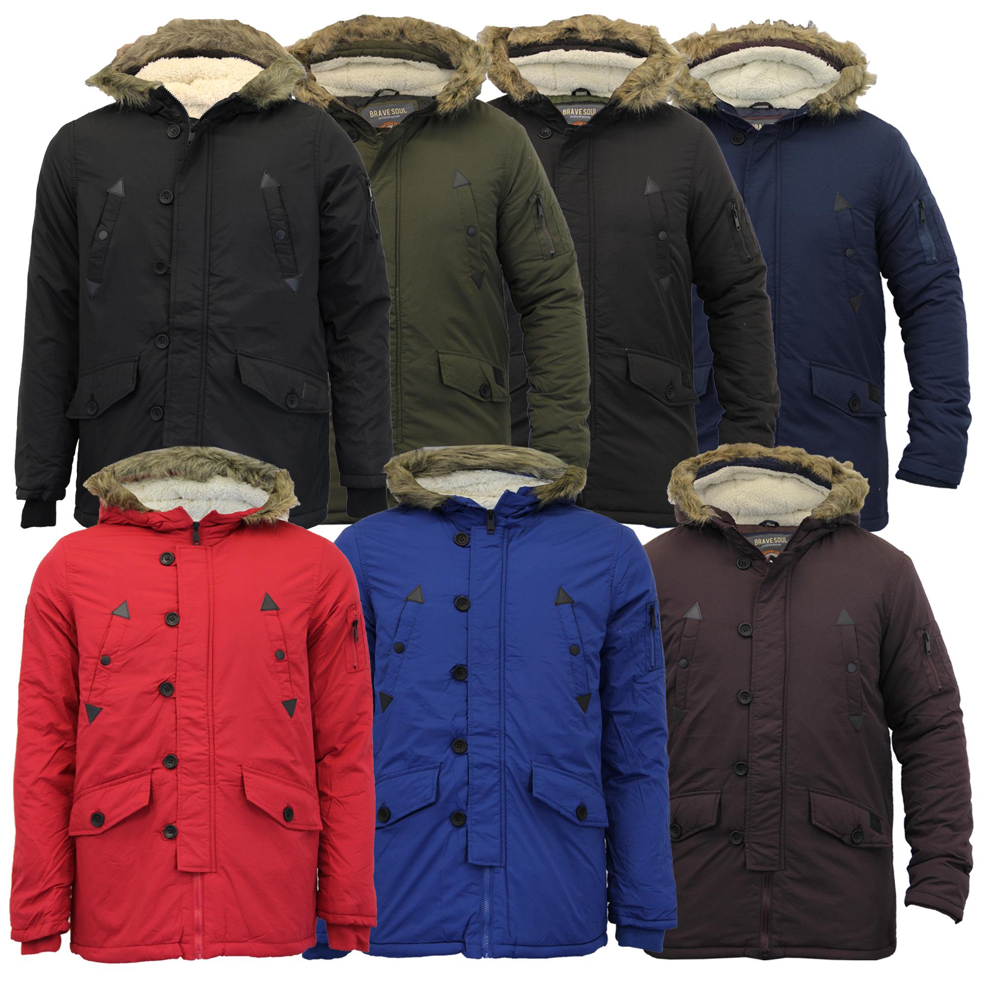 new products e47c7 0cf0b Dettagli su Uomo Parka Brave Soul Giacca Sherpa in Pile Imbottito con  Cappuccio Inverno