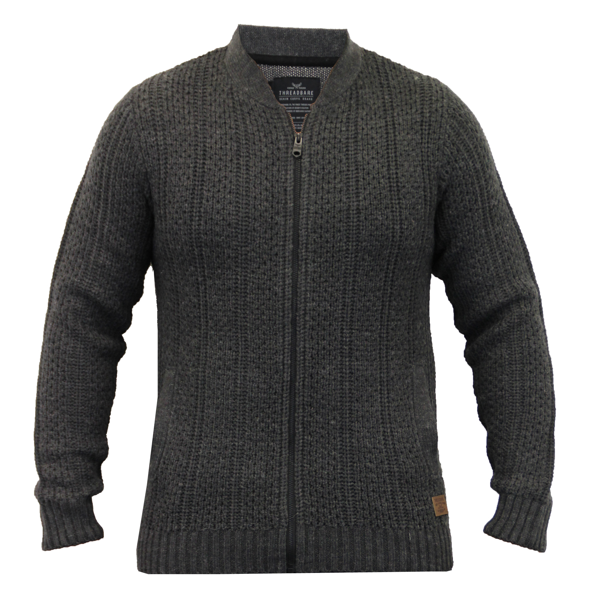 Mens-Wool-Mix-Cardigans-Threadbare-Knitted-Sweater-Broken-Standard-Shawl-Winter thumbnail 8