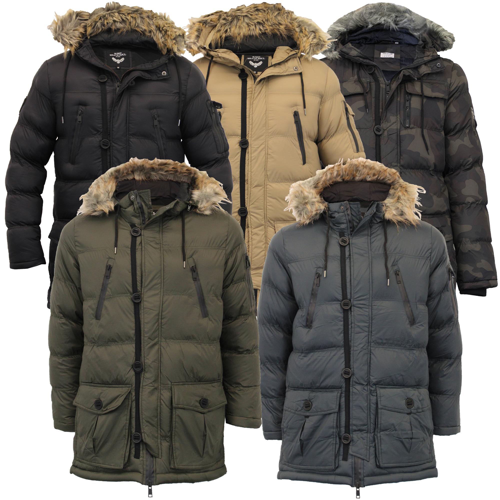 e24d77b5c Details about Mens Bubble Parka Jacket Brave Soul Coat Camo Military Hoodie  Fur Padded Winter