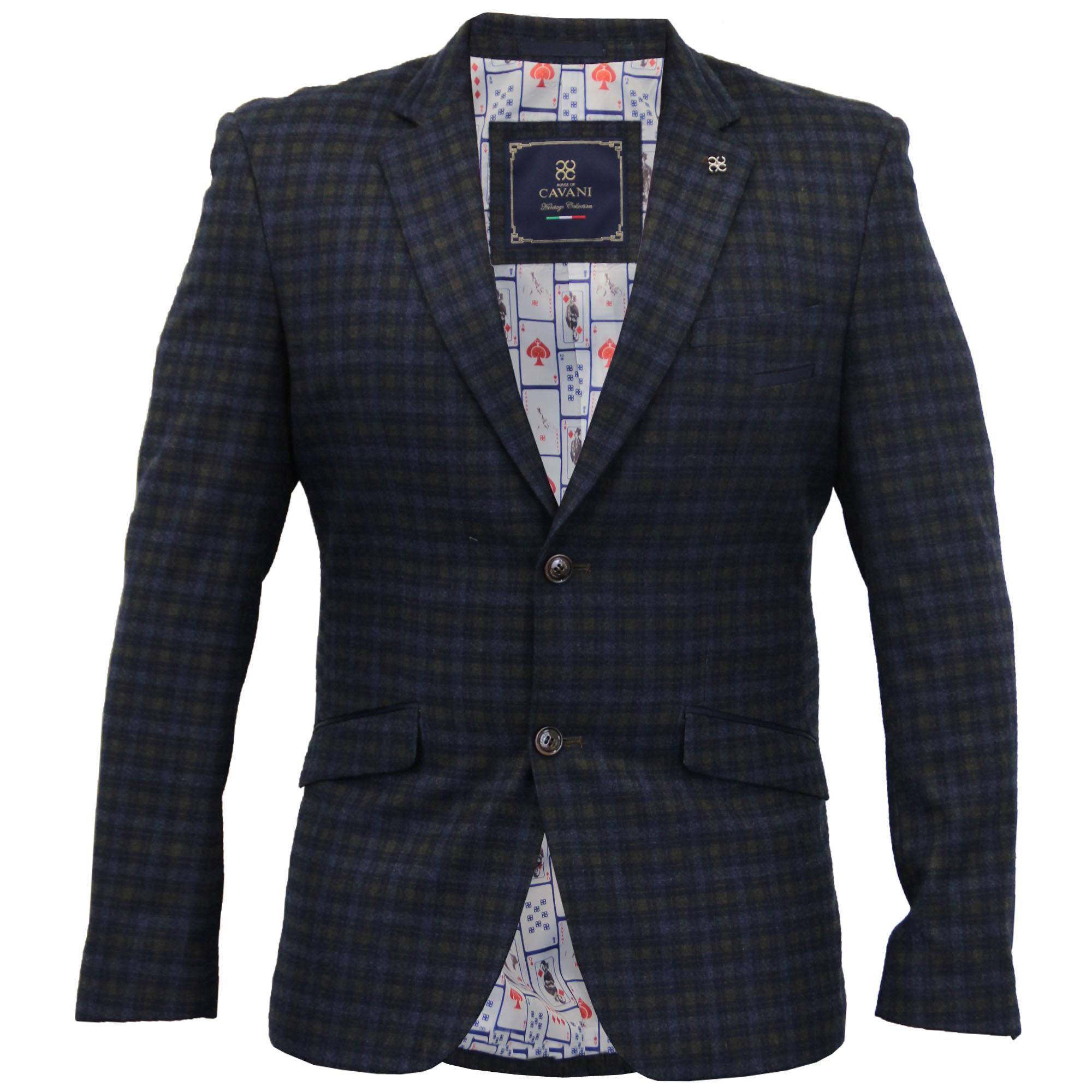 Blazers Jackets Mens: Mens Blazer Cavani Coat Dinner Suit Slim Fit Jacket Tartan