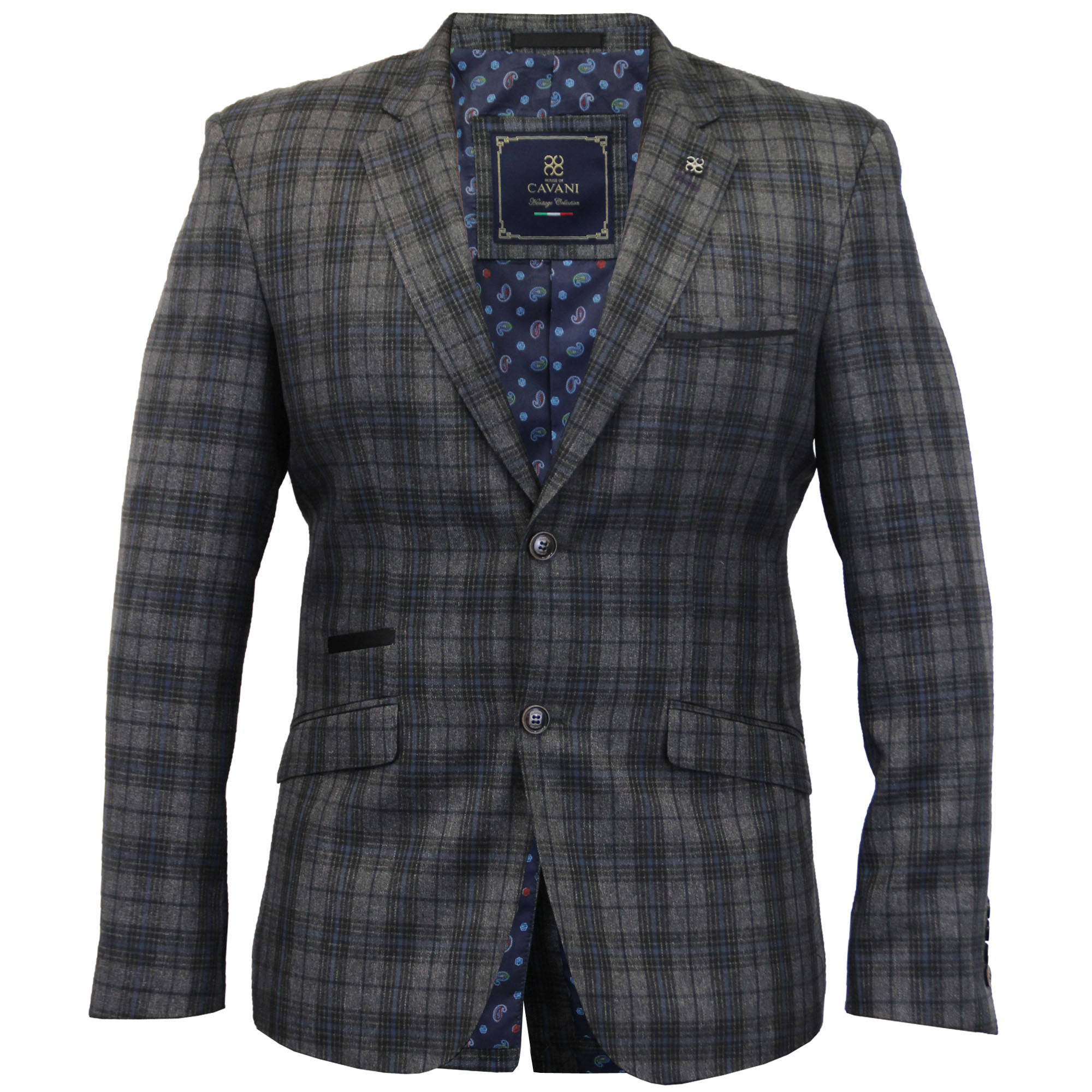 Blazers Jackets Mens: Mens Blazer Cavani Coat Dinner Suit Slim Fit Jacket Tartan