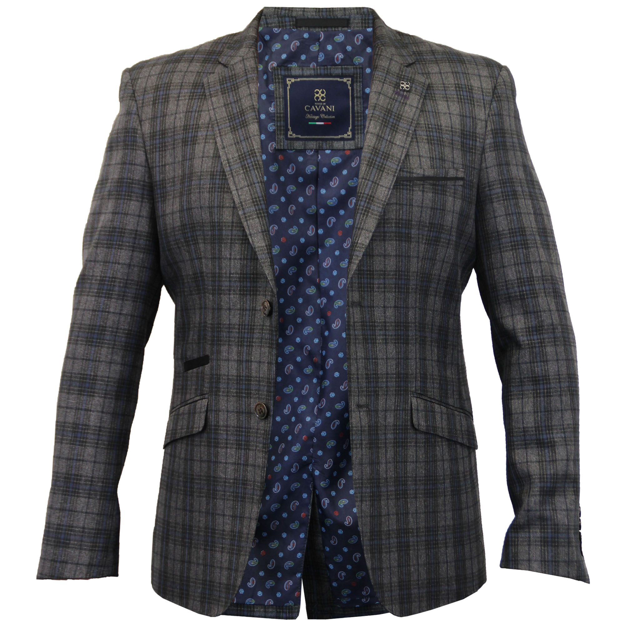 Mens Blazer Cavani Coat Dinner Suit Slim Fit Jacket Tartan