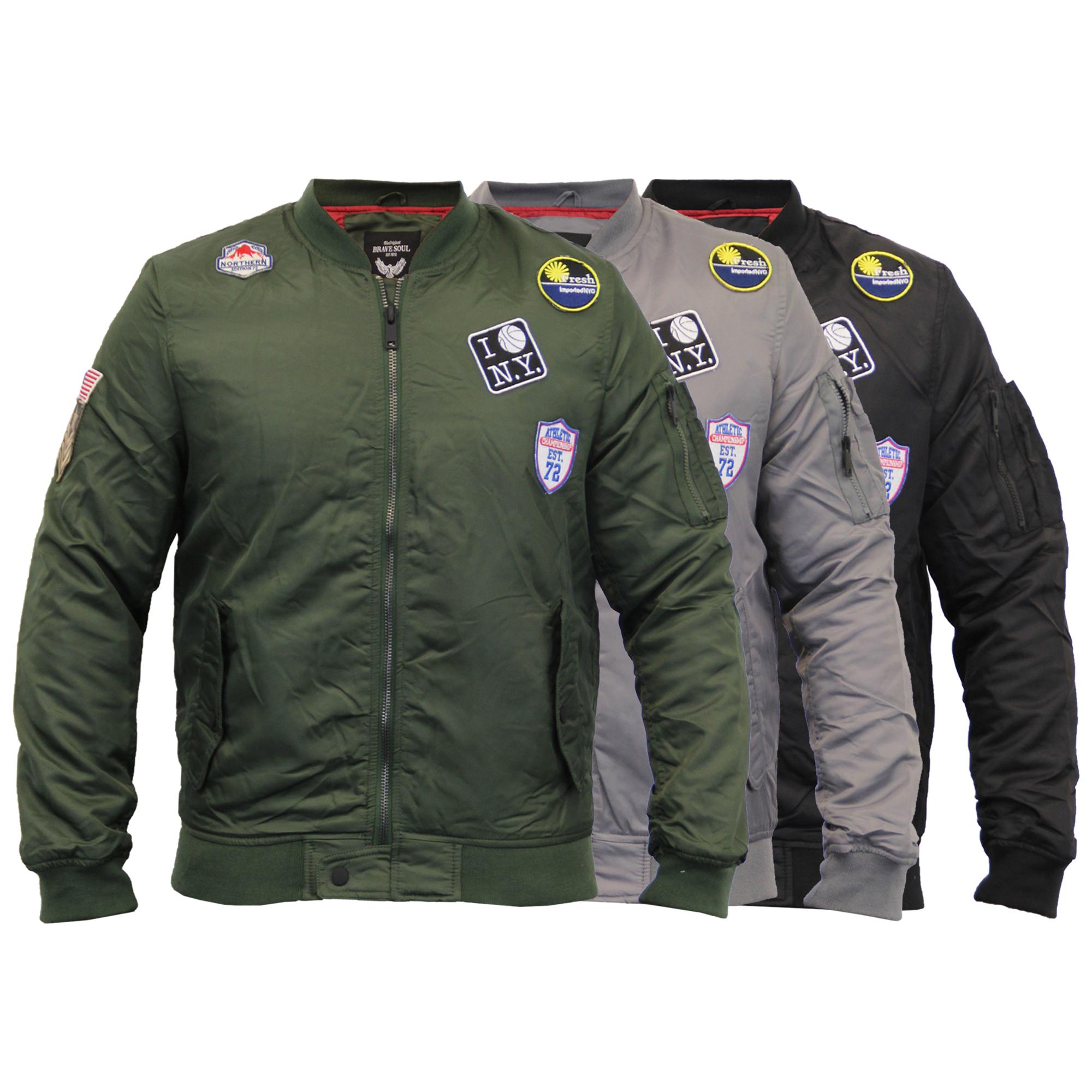 f752ed6b8 Details about Mens Jacket Brave Soul MA1 Harrington Military USA Badge  Padded Bomber Winter