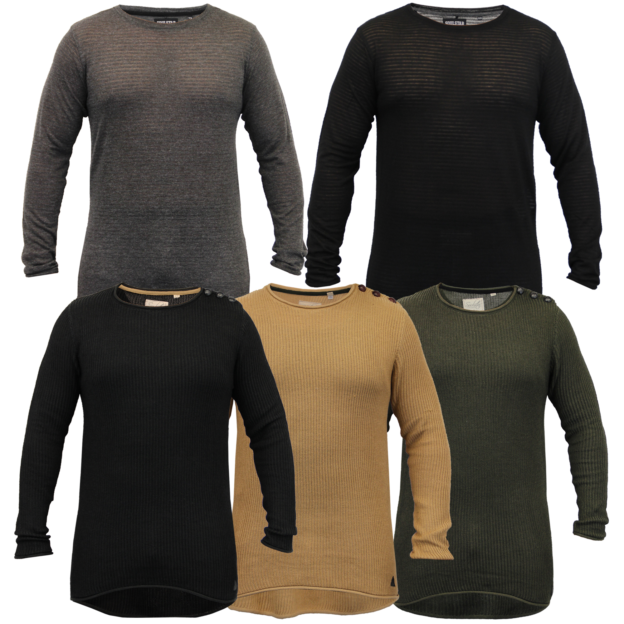 Mens-Long-Line-Jumper-Soul-Star-Sweater-High-Low-Hem-Top-Knitted-Pullover-Winter thumbnail 4