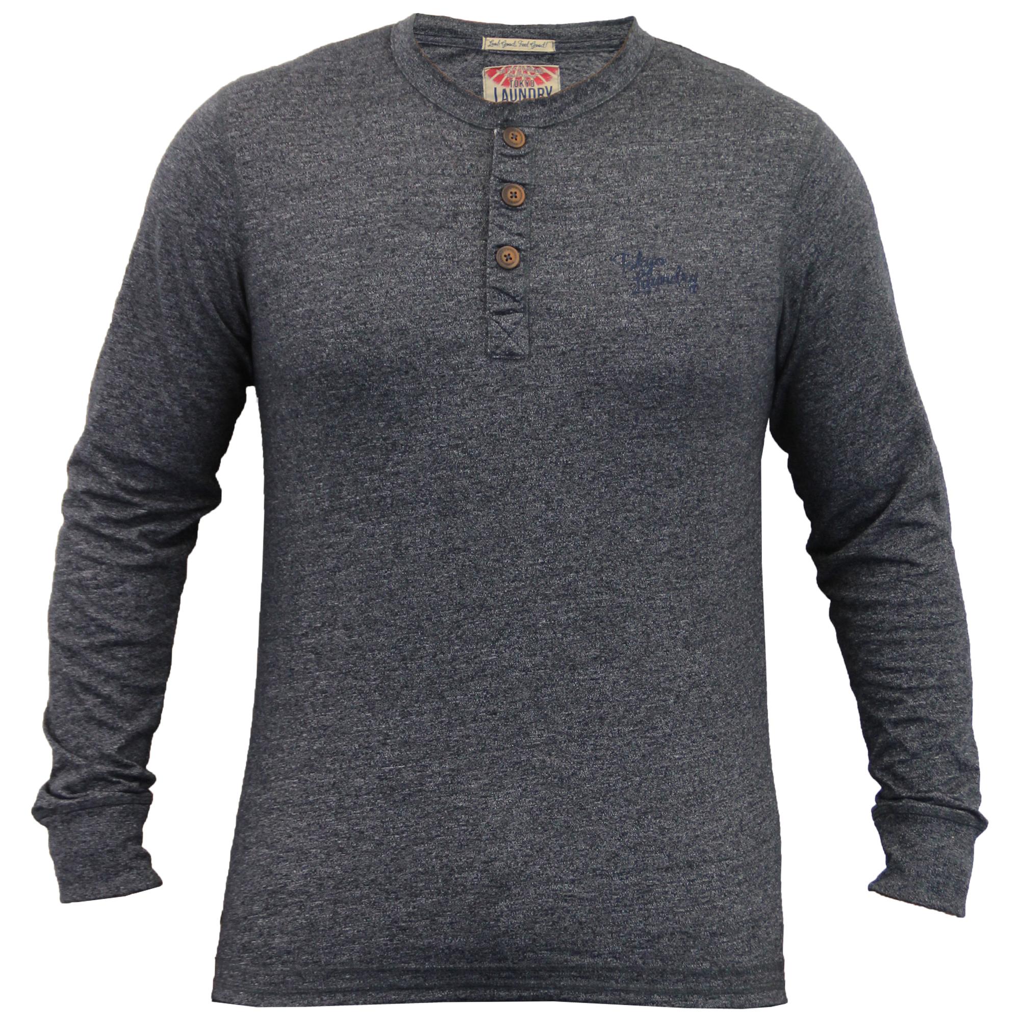 Tokyo-Laundry-Jersey-Top-Para-Hombre-Camiseta-Manga-larga-Cuello-Abuelo-Boton-De-Invierno