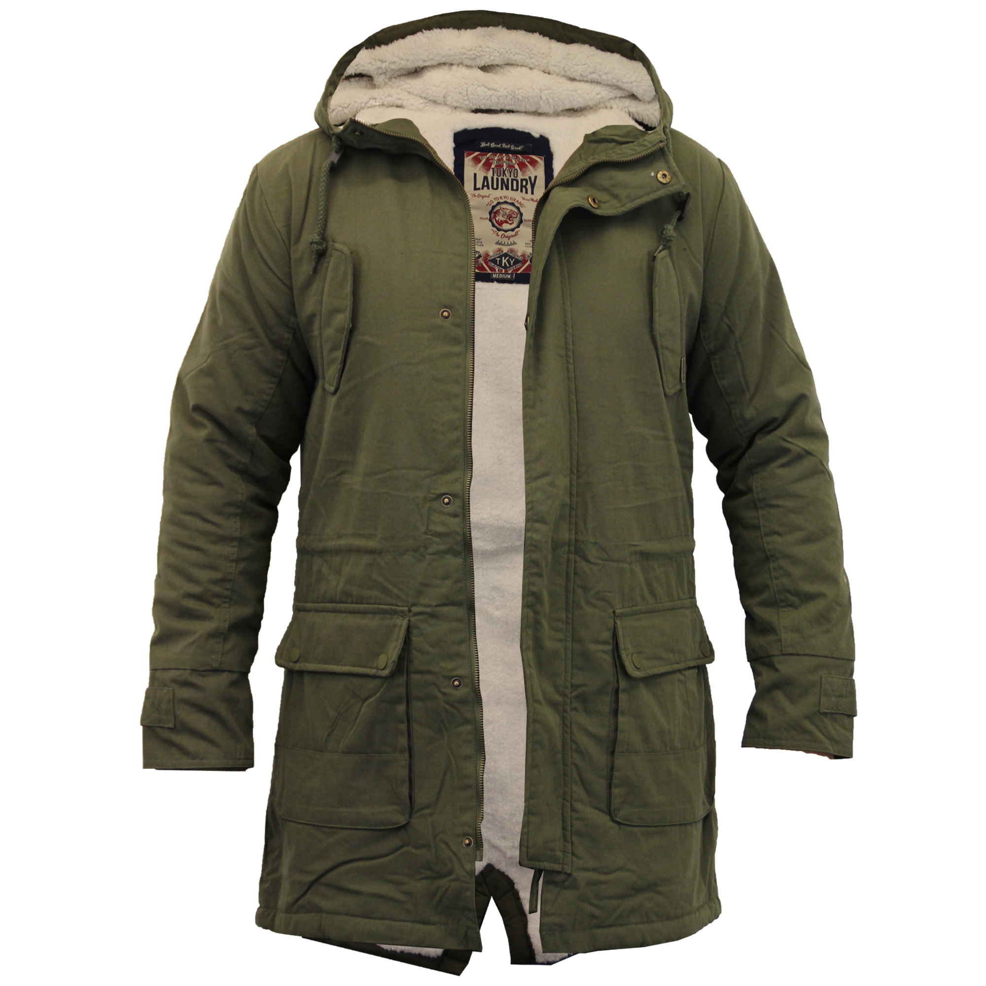 Mens Jacket Tokyo Laundry Parka Coat Hooded Sherpa Lined