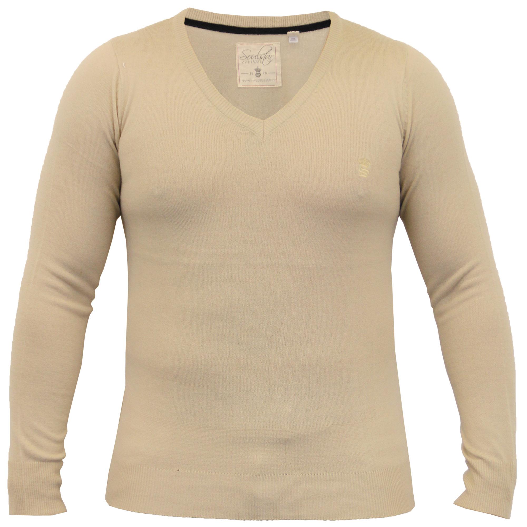 Mens-Jumper-Soul-Star-Knitted-Sweater-Pullover-Crew-V-Neck-Lightweight-Winter thumbnail 11