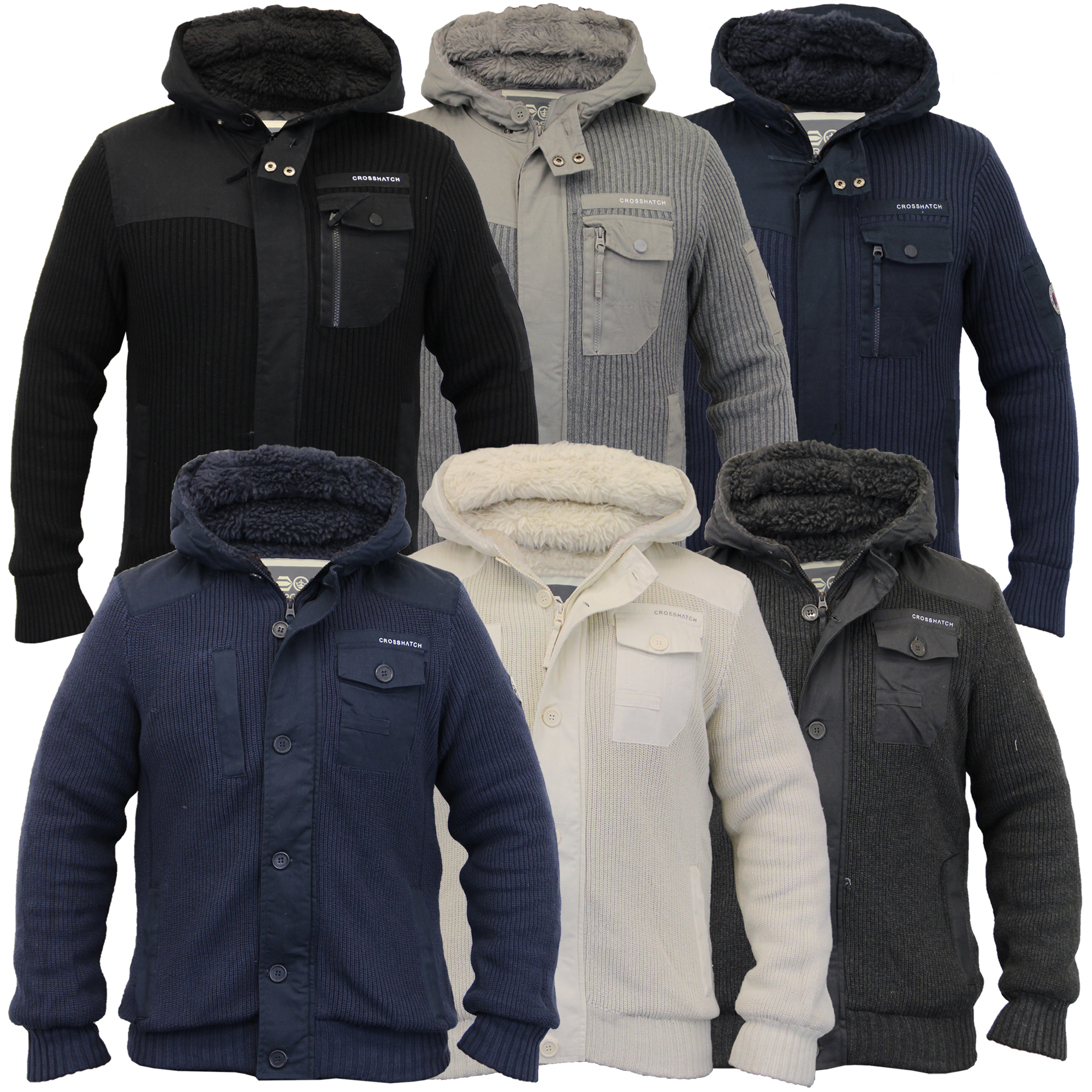 b1236568e89 Details about Mens Jacket Crosshatch Coat Knitted Hooded Top Sherpa Fleece  Padded Winter New