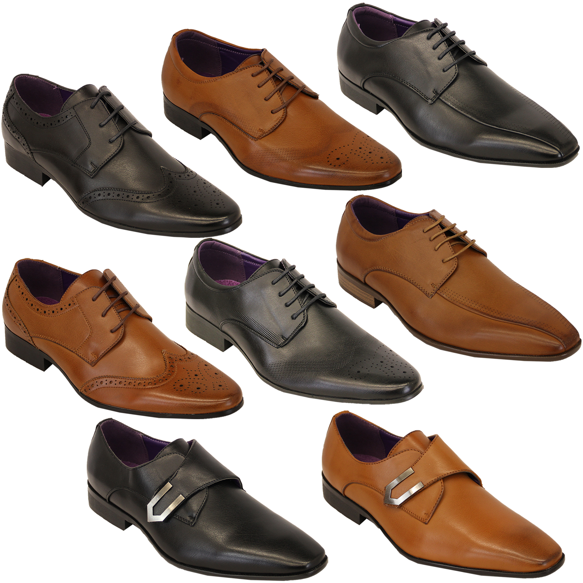 Mens Italian Shoes Leather Look Brogue