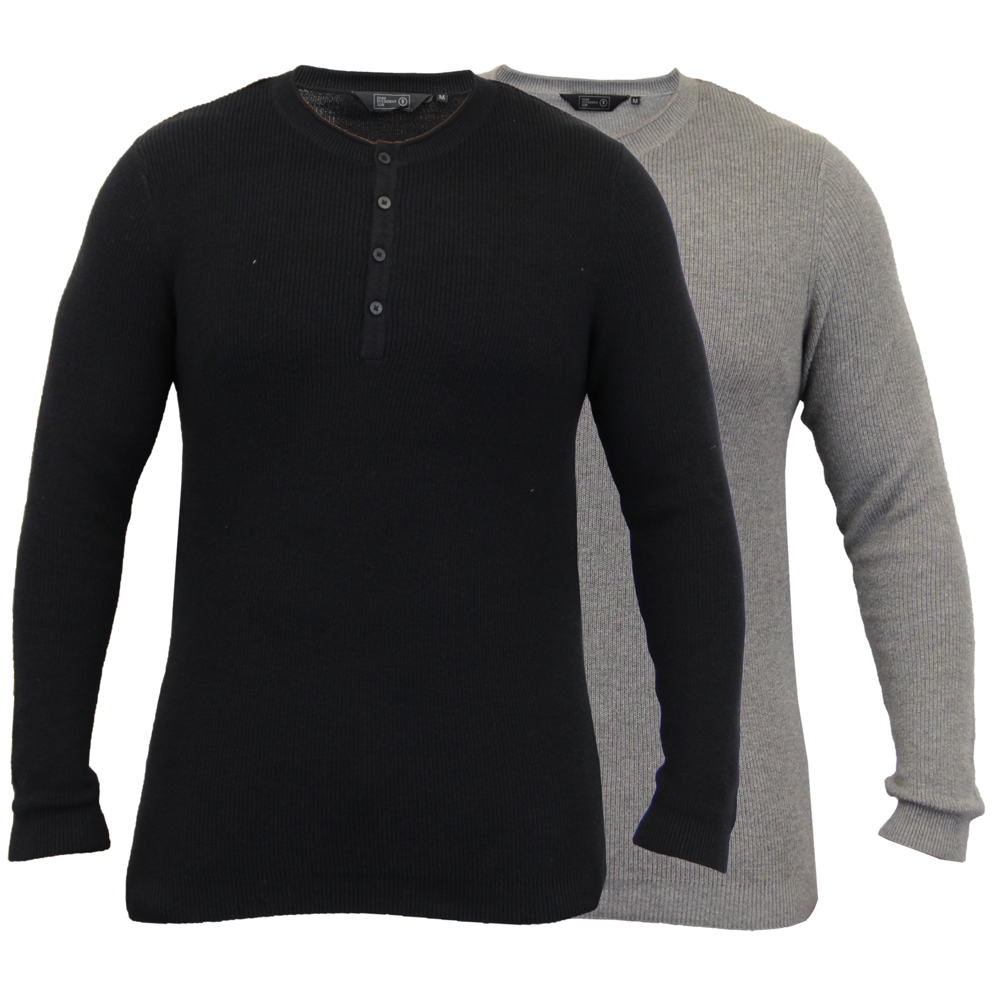 Mens-Grandad-Jumpers-Dissident-Knitted-Ribbed-Top-Lightweight-Casual-Winter-New thumbnail 5