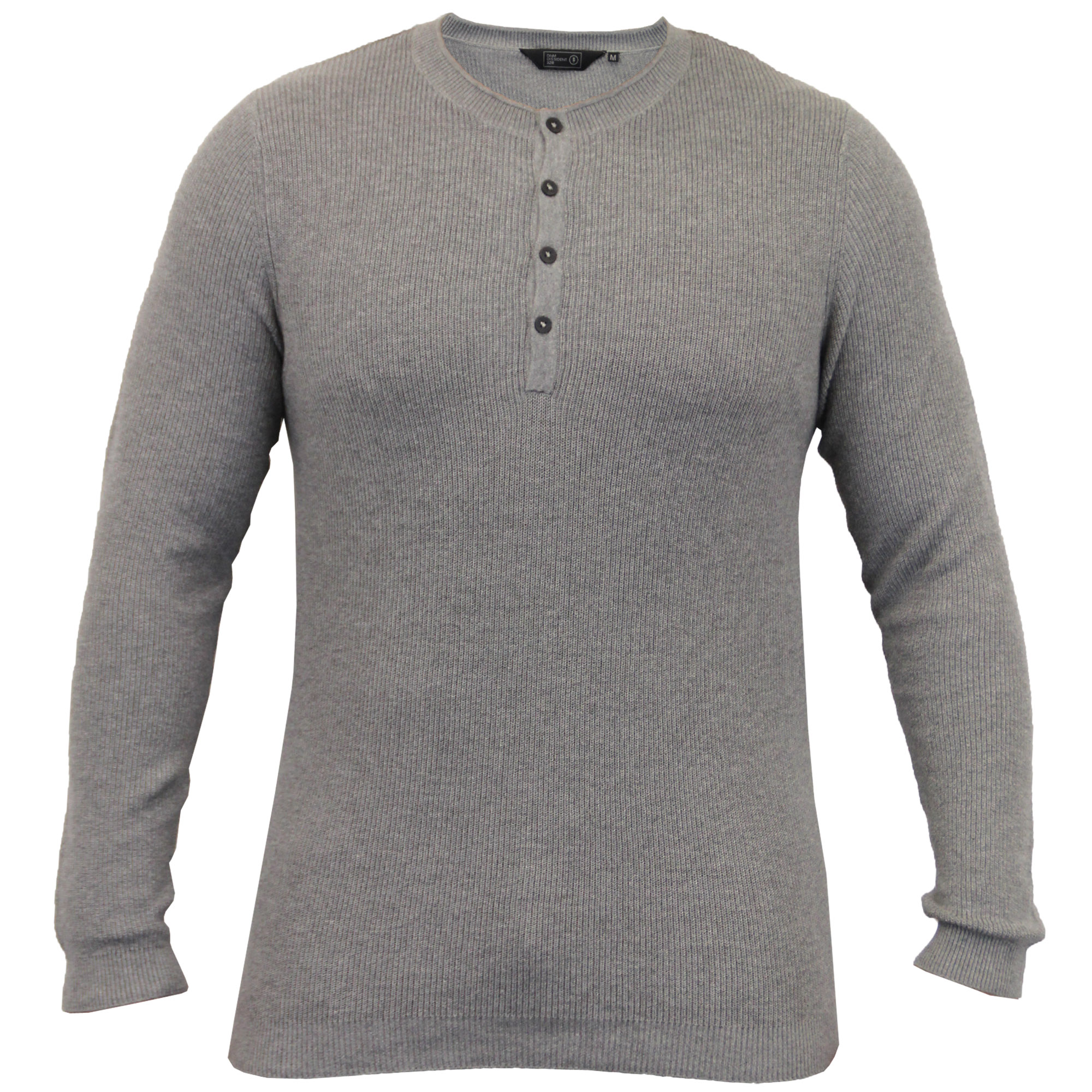 Mens-Grandad-Jumpers-Dissident-Knitted-Ribbed-Top-Lightweight-Casual-Winter-New thumbnail 3