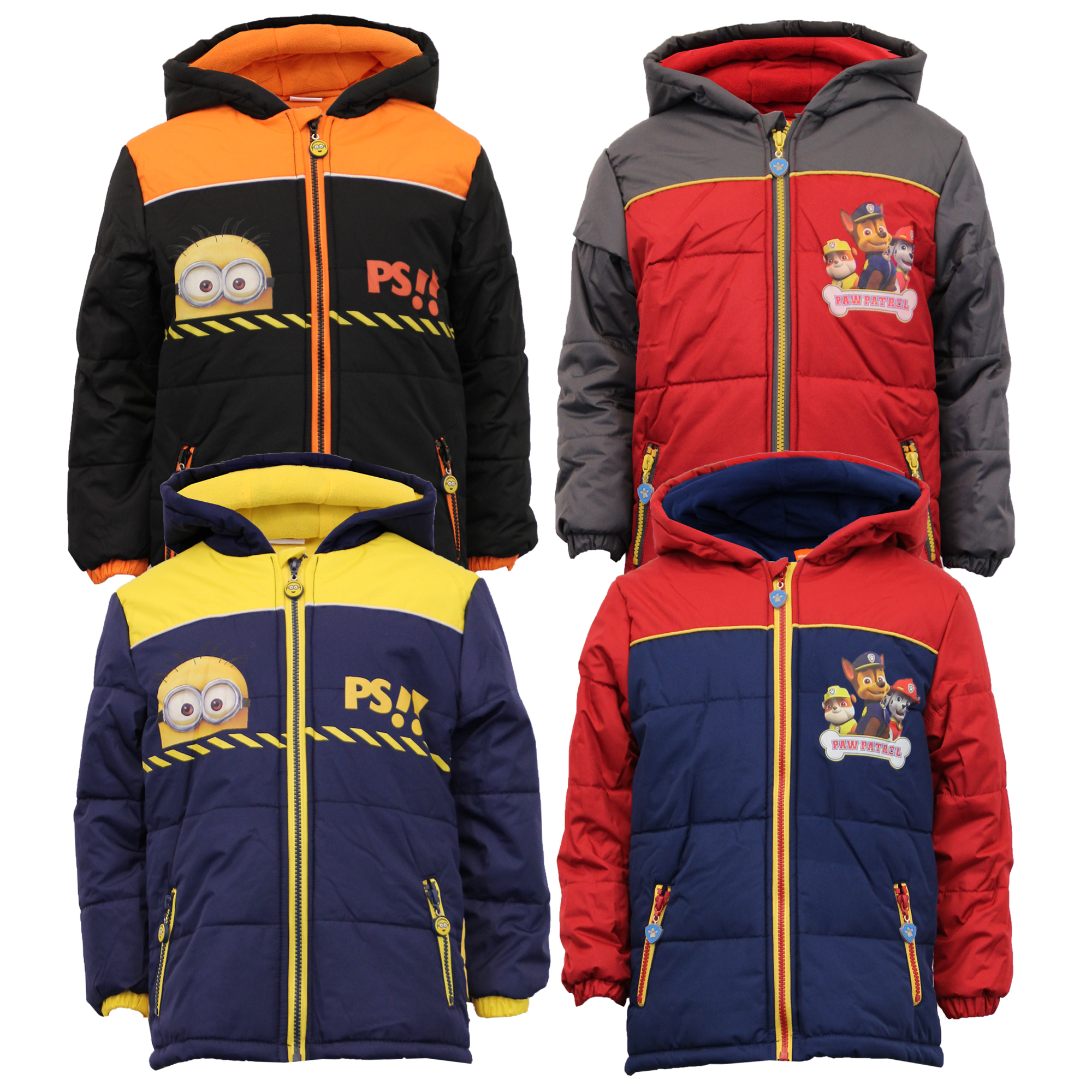 93798fb2c Boys Despicable Me Jacket Coat Padded Hood Nickelodeon Minion Paw ...