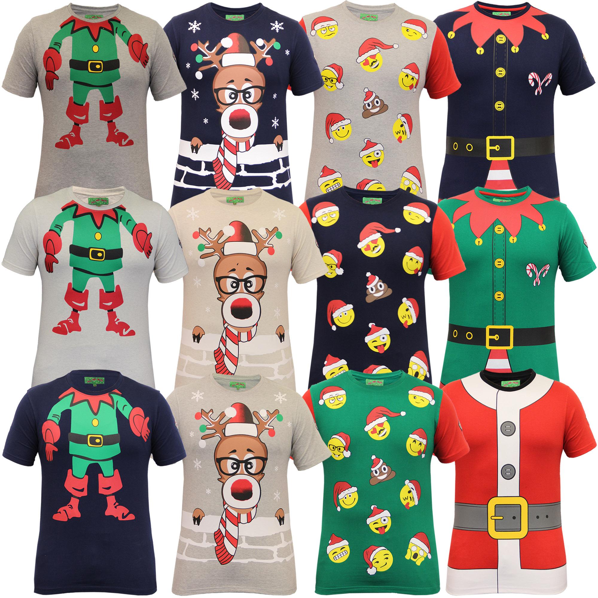 Christmas Shirt.Details About Mens Christmas T Shirt Ho Ho Ho Xmas Emoji Santa Claus Elf Reindeer Novelty Top