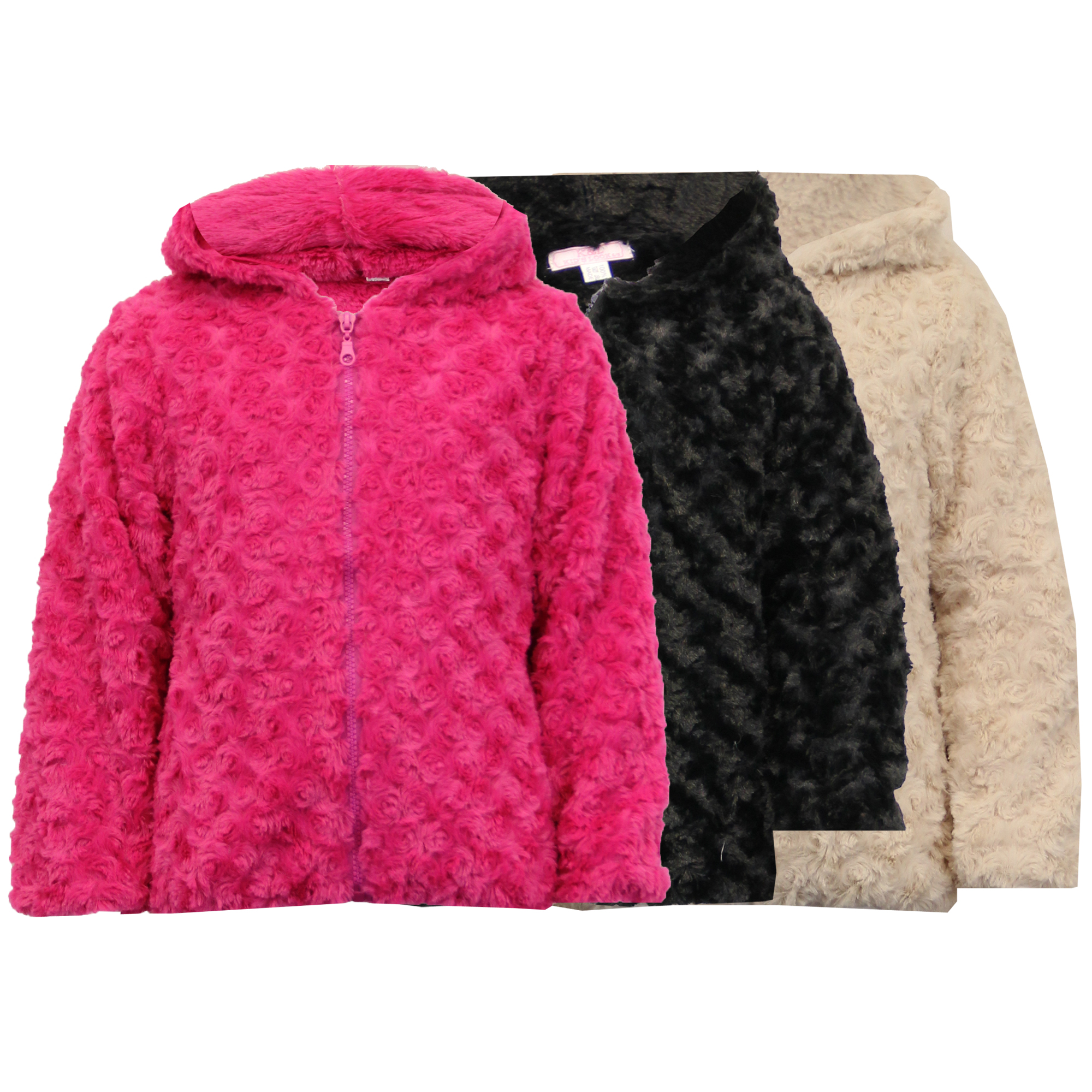 7fca60a3b Details about Girls Jacket Kids Coat Knitted Hooded Faux Fur Lined Zip  Casual Fashion Winter