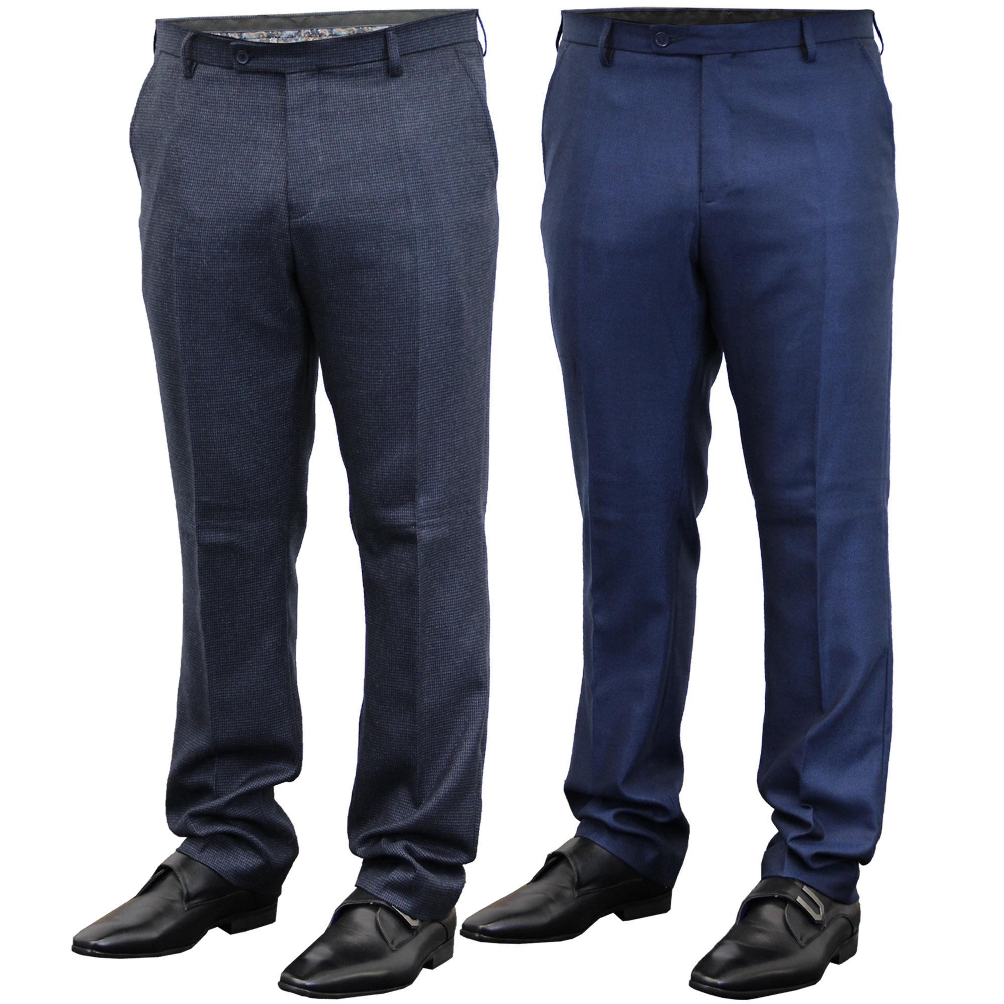 Mens-Trouser-Cavani-Pants-Formal-Wedding-Office-Work-Smart-Fashion-Casual-New thumbnail 6