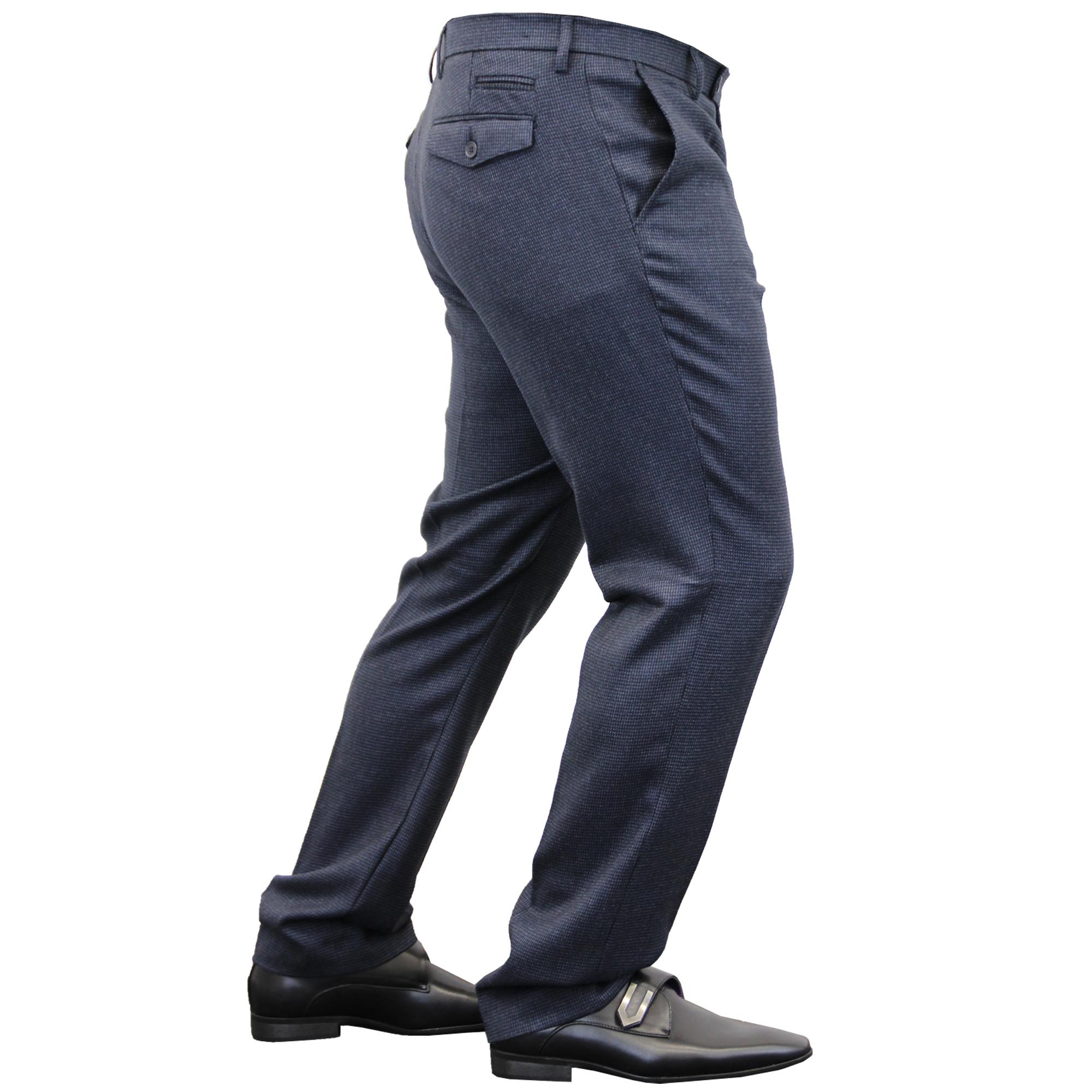 Mens-Trouser-Cavani-Pants-Formal-Wedding-Office-Work-Smart-Fashion-Casual-New thumbnail 3