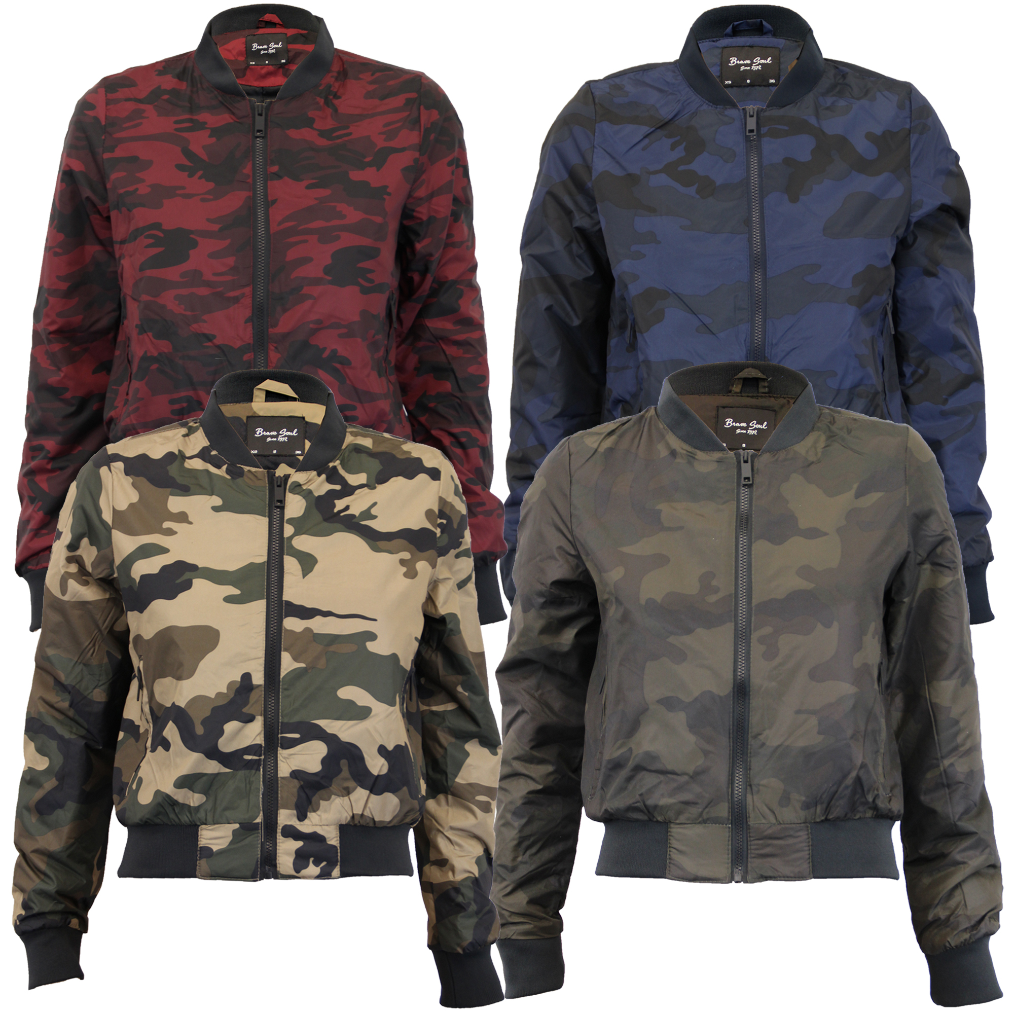 adb0bd45a Details about Ladies Camo Jackets Brave Soul Womens Coat Military MA1  Padded Harrington Bomber