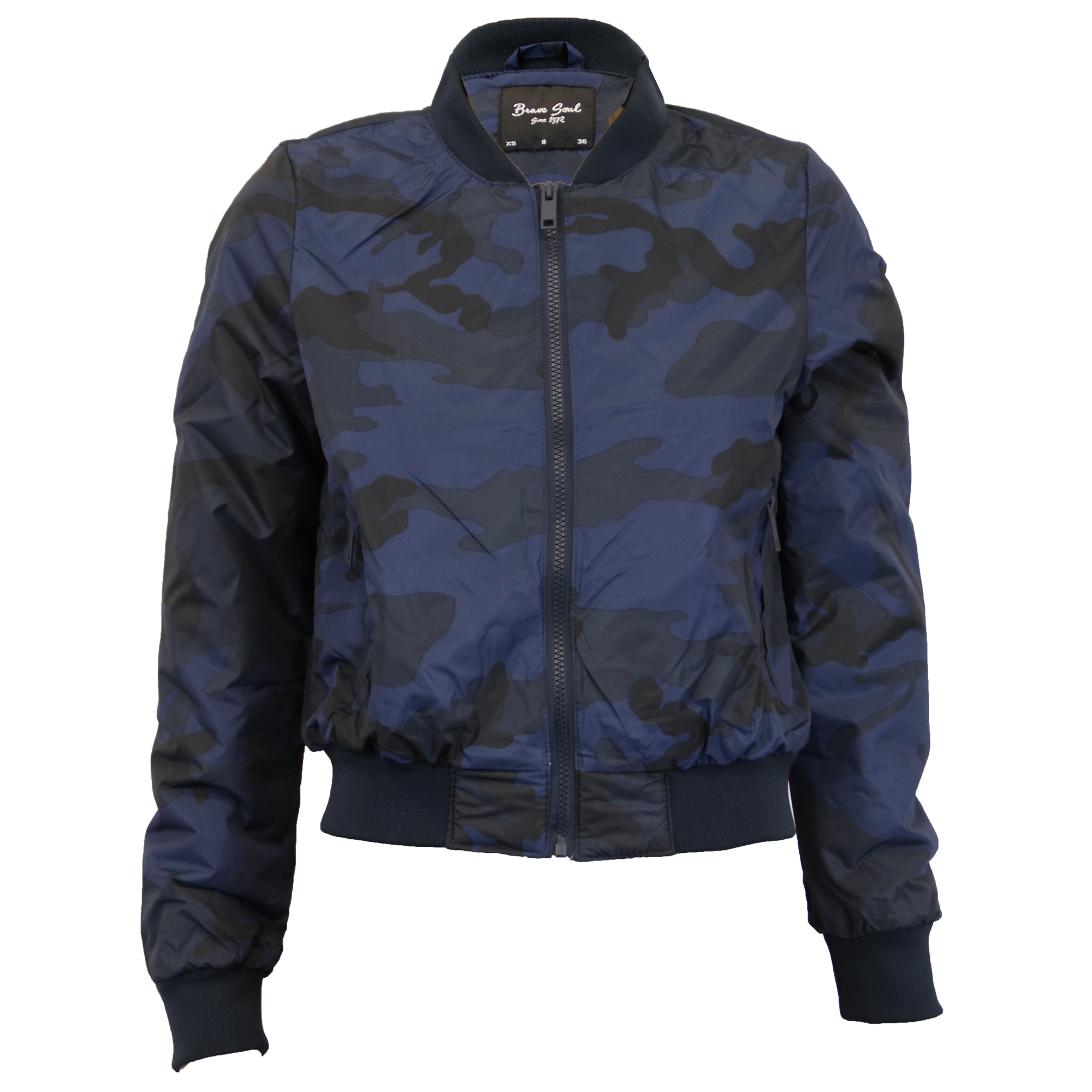 55f98497c52df Ladies Camo Jackets Brave Soul Womens Coat Military MA1 Padded ...