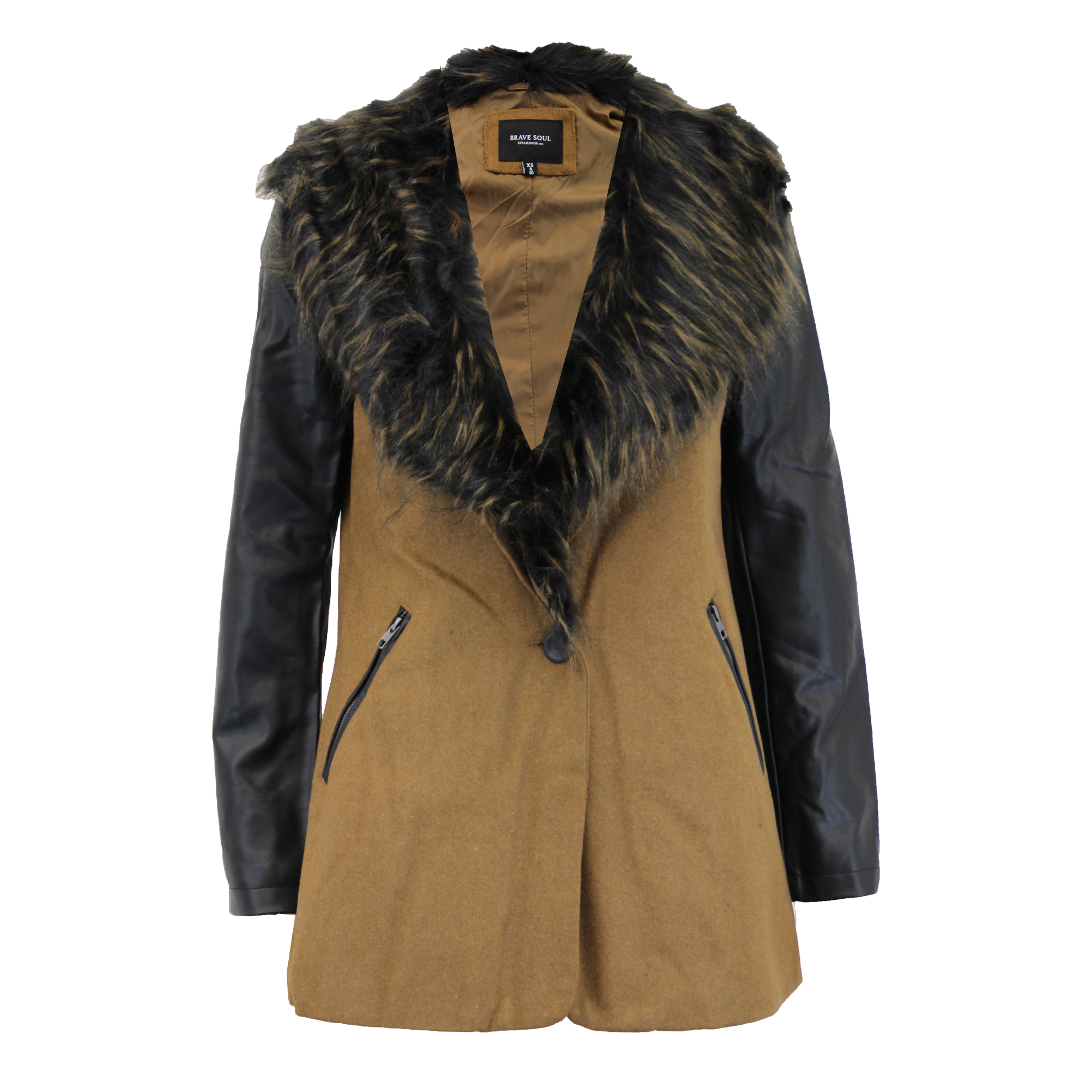 6683644efc12 Ladies Jacket Brave Soul Womens Trench Coat Wool Mix Faux Fur PU PVC ...