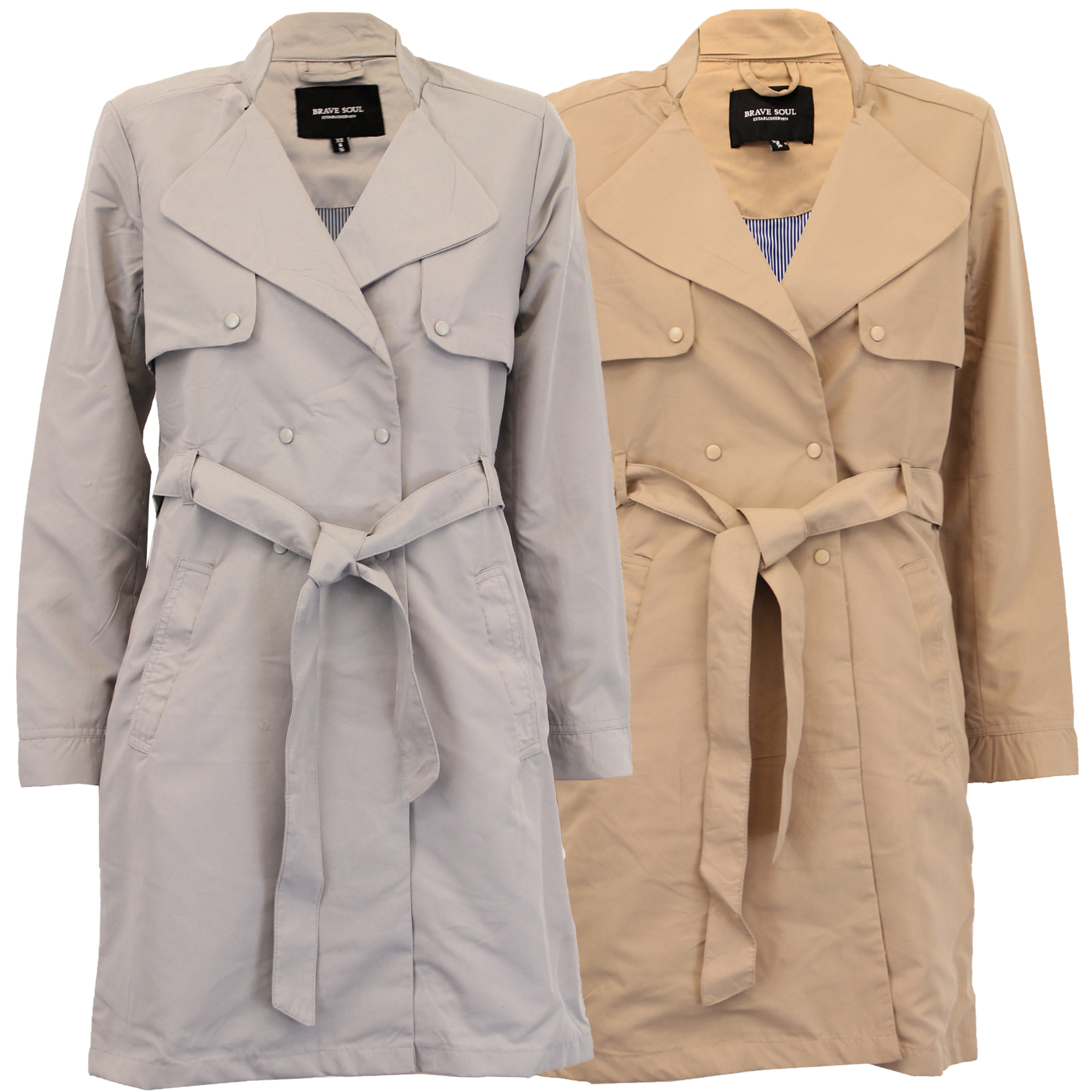 d31cc32e2cb0 Ladies Jacket Brave Soul Womens Trench Mac Coat Double Breasted Belt ...