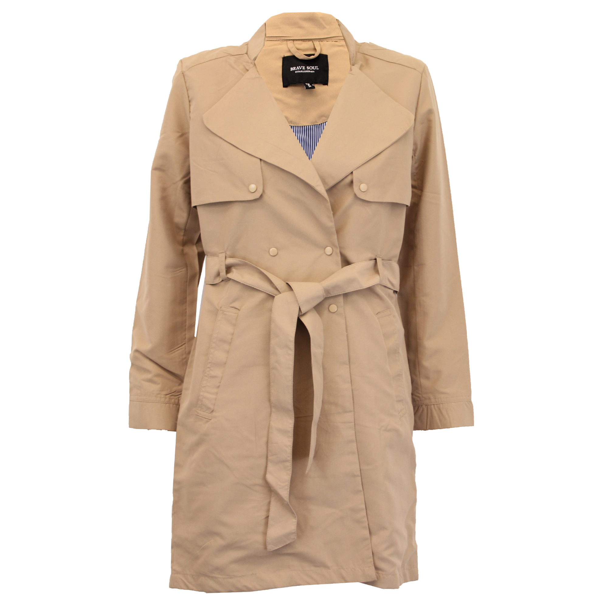 Ladies-Jacket-Brave-Soul-Womens-Trench-Mac-Coat-Double-Breasted-Belt-Winter-New