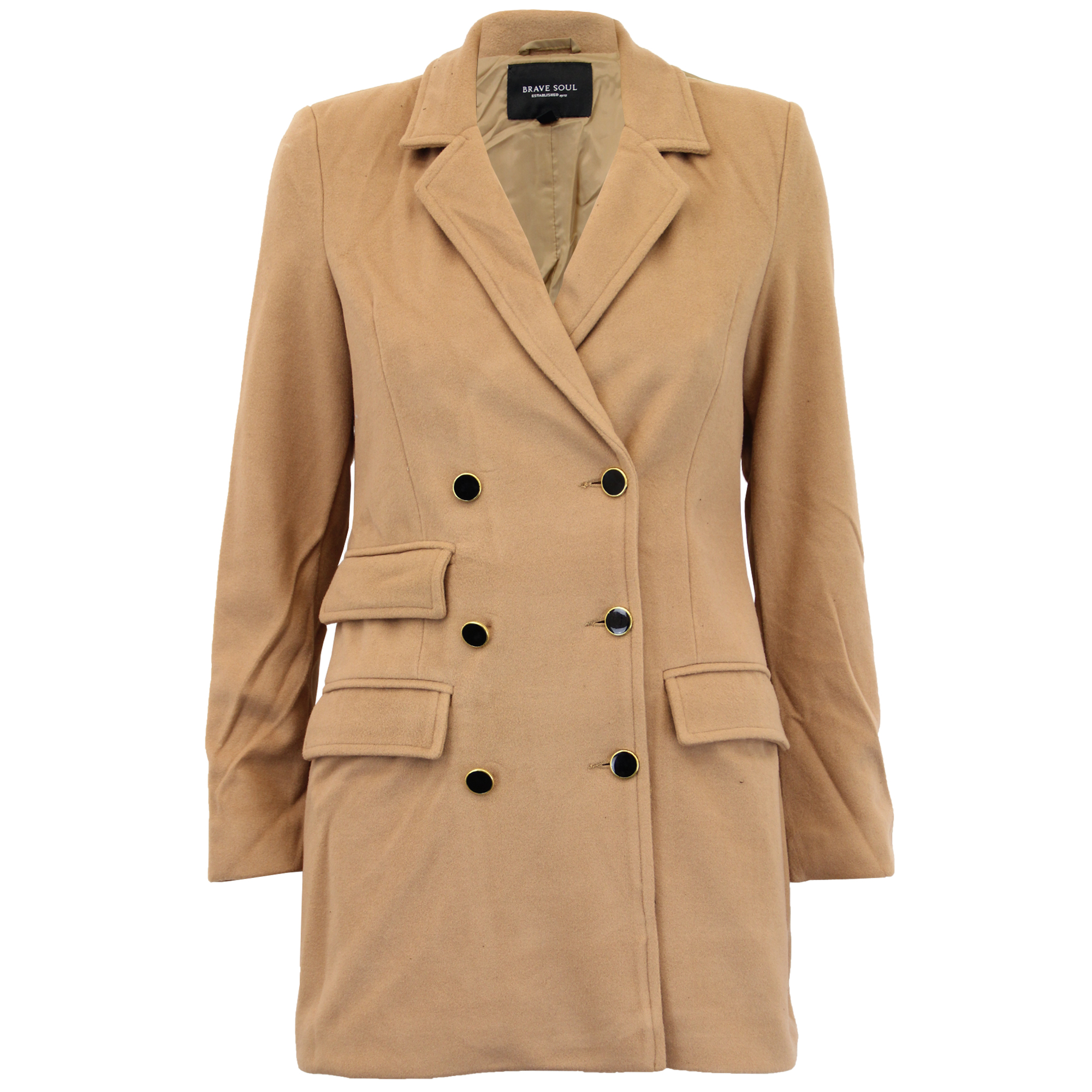 Ladies-Jacket-Brave-Soul-Womens-Coats-Wool-Mix-Double-Breasted-Lined-Winter-New