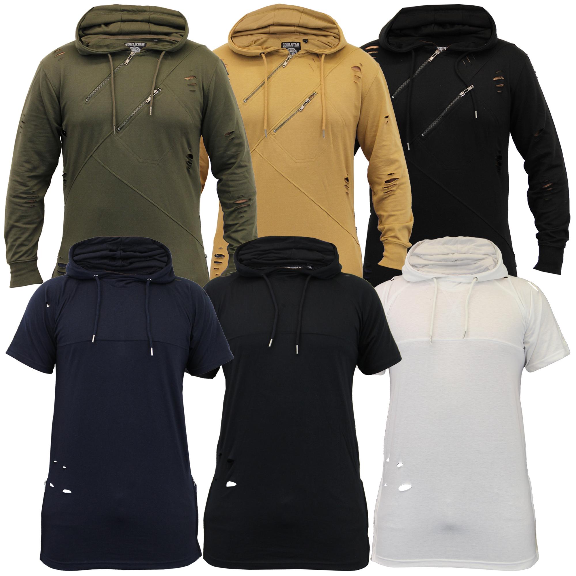 nuovo arrivo d3b7b 9a045 Dettagli su Uomo Strappato Felpa Soul Star Modello lungo con Cappuccio  Maglione T Shirt