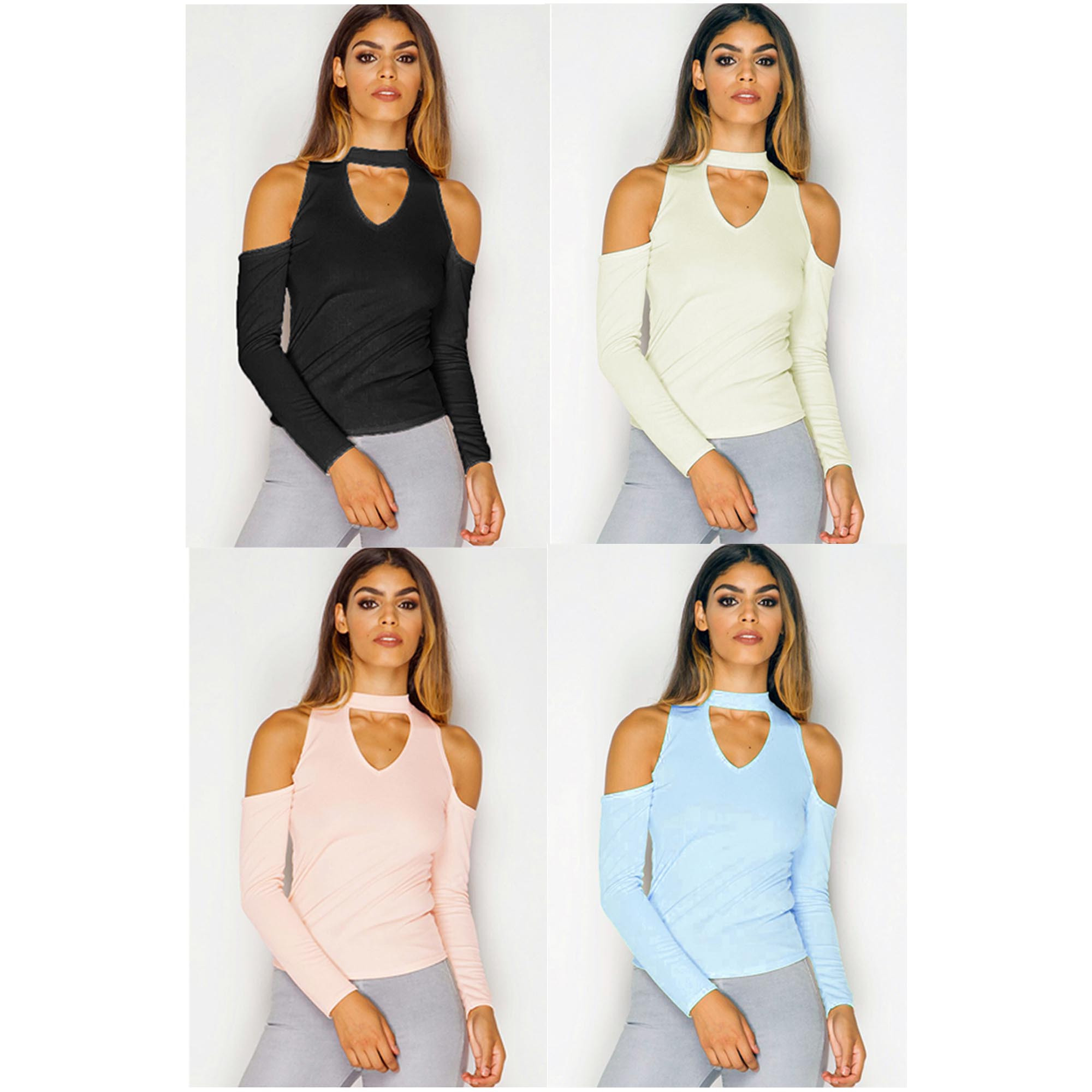 3f6f32a40 Ladies Choker Neck Top Womens Cut Out Shoulder Blouse Bodycon Casual ...