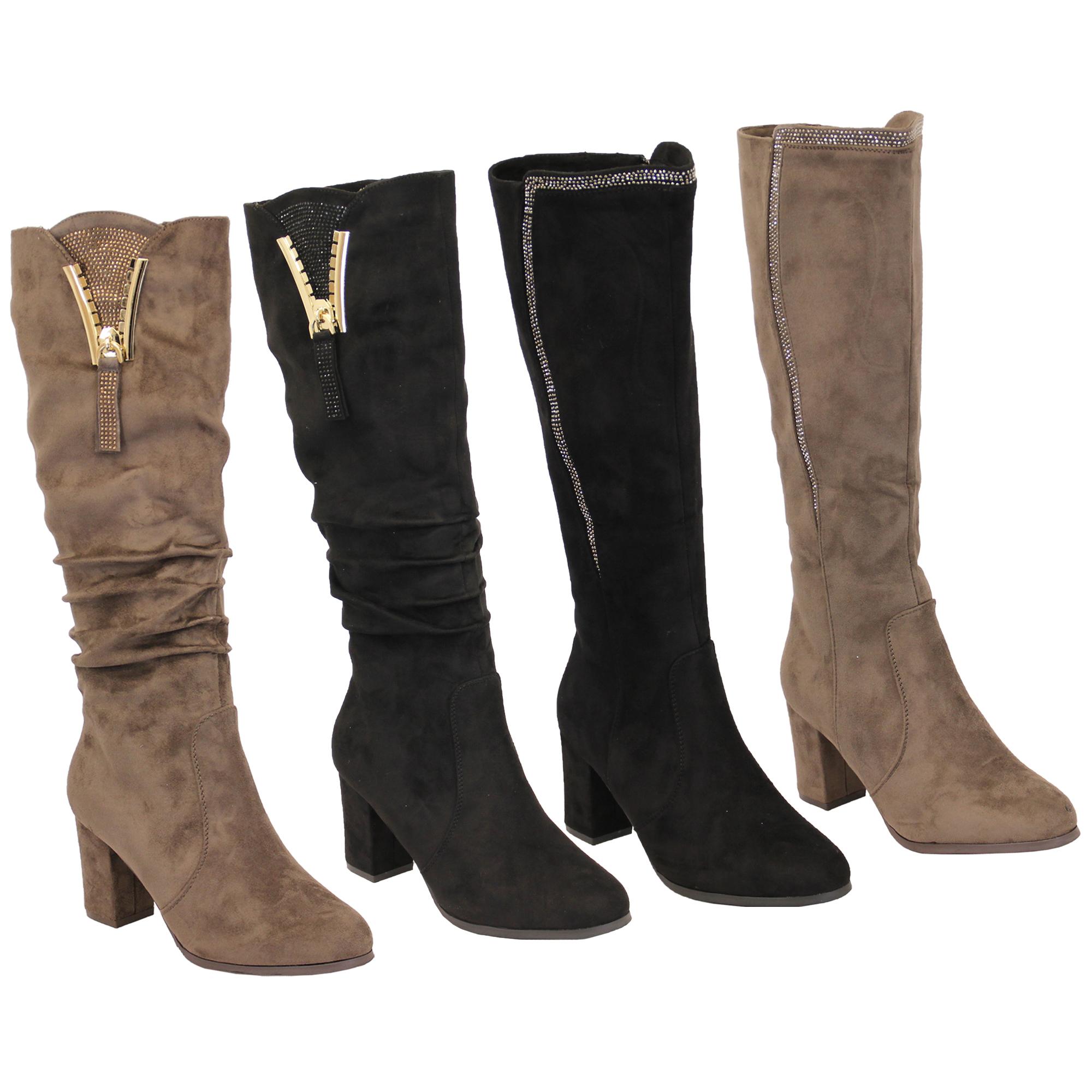 Ladies Suede Look Boots Long Knee Calf