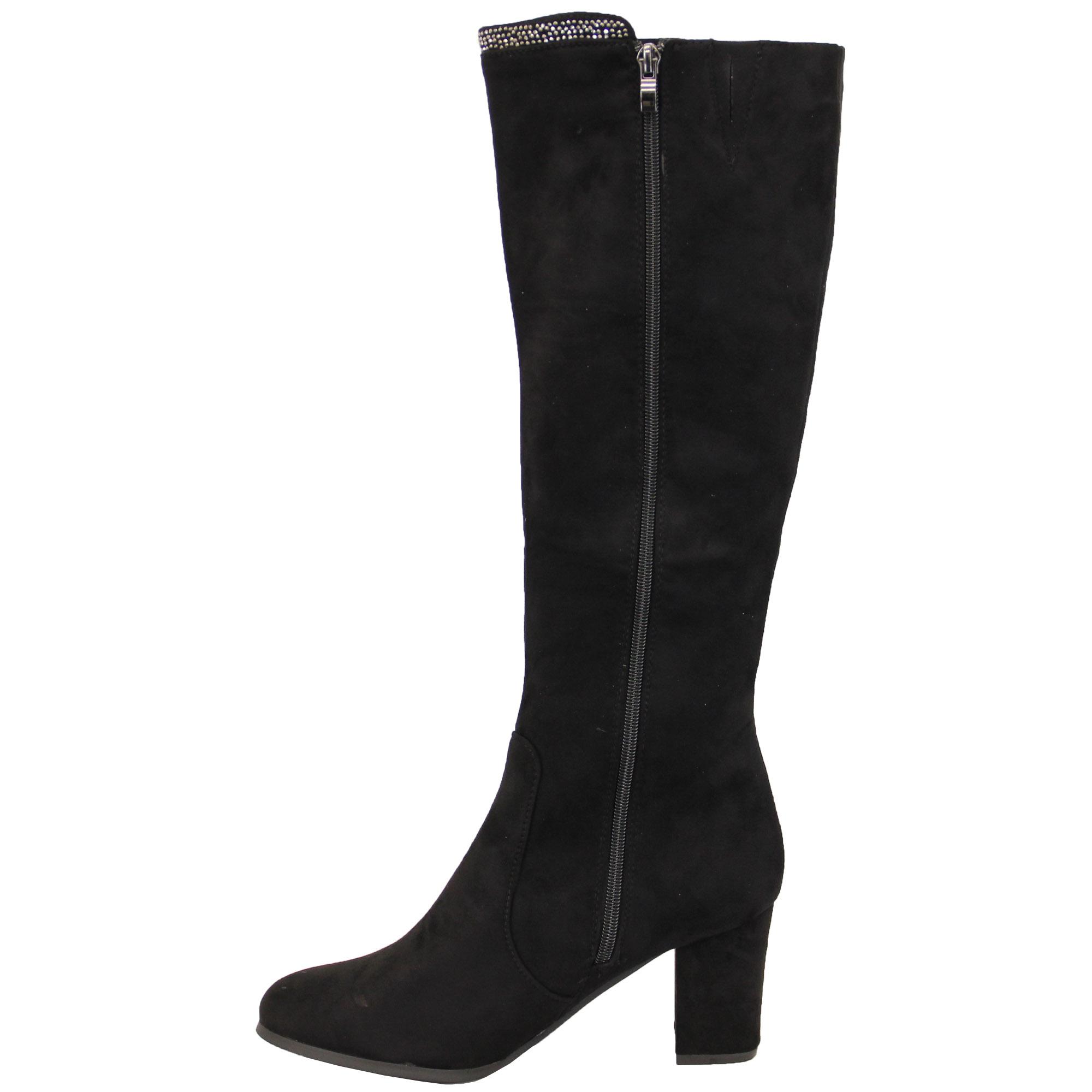 bbaffccd20449 Ladies Suede Look Boots Long Knee Calf Shoes Womens Block Heel Fur ...