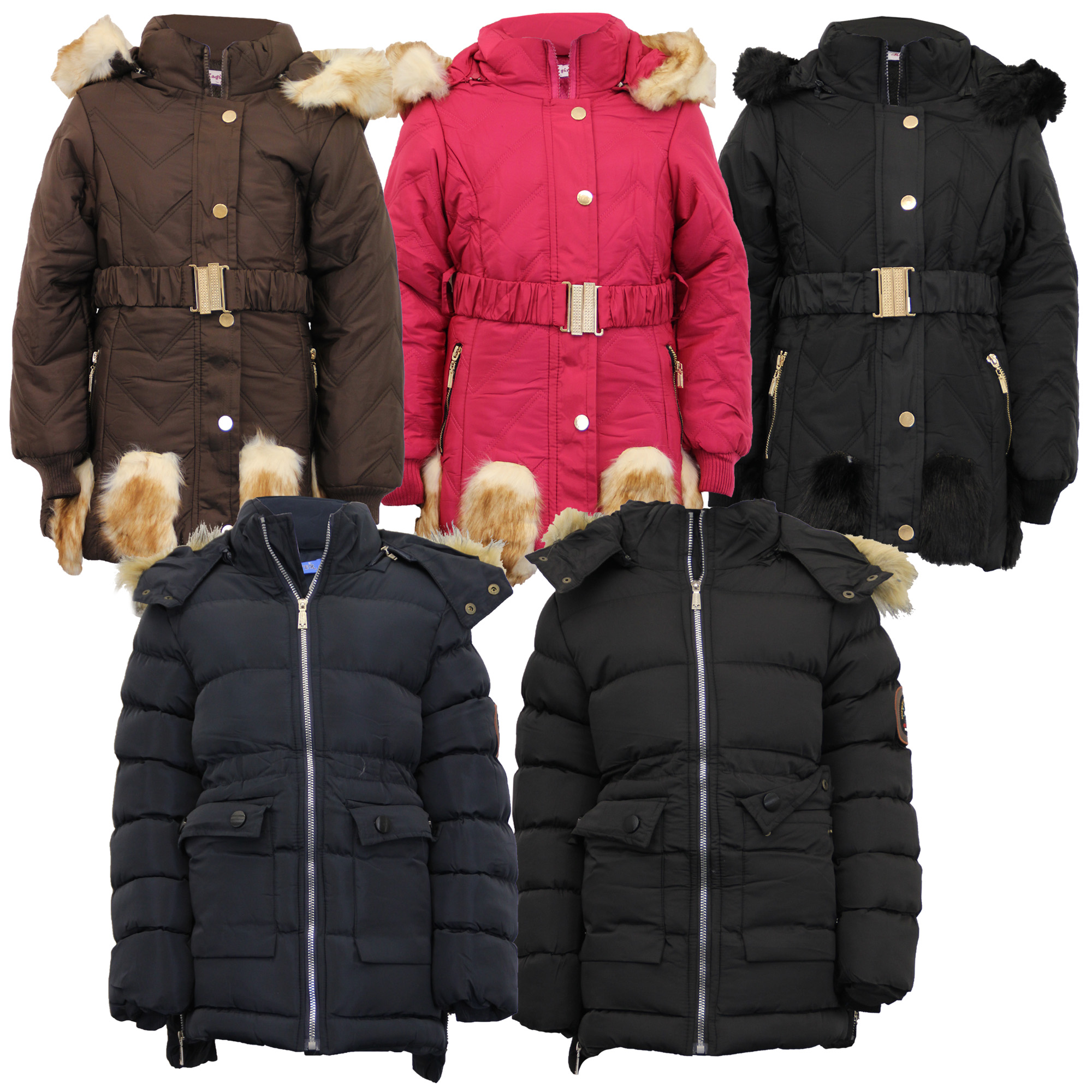 e9f5b9faf Girls Padded Jacket Kids Coat Fur Hooded Quilted BELT Sherpa Fleece ...