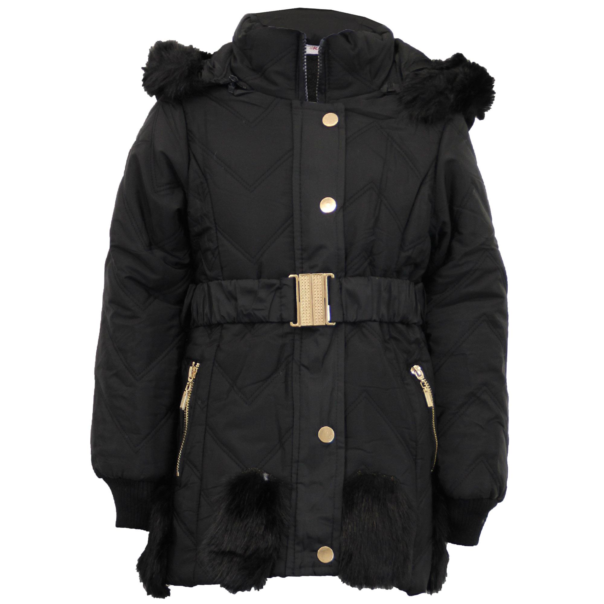 fb34c35f0125 Girls Padded Jacket Kids Coat Fur Hooded Quilted BELT Sherpa Fleece ...