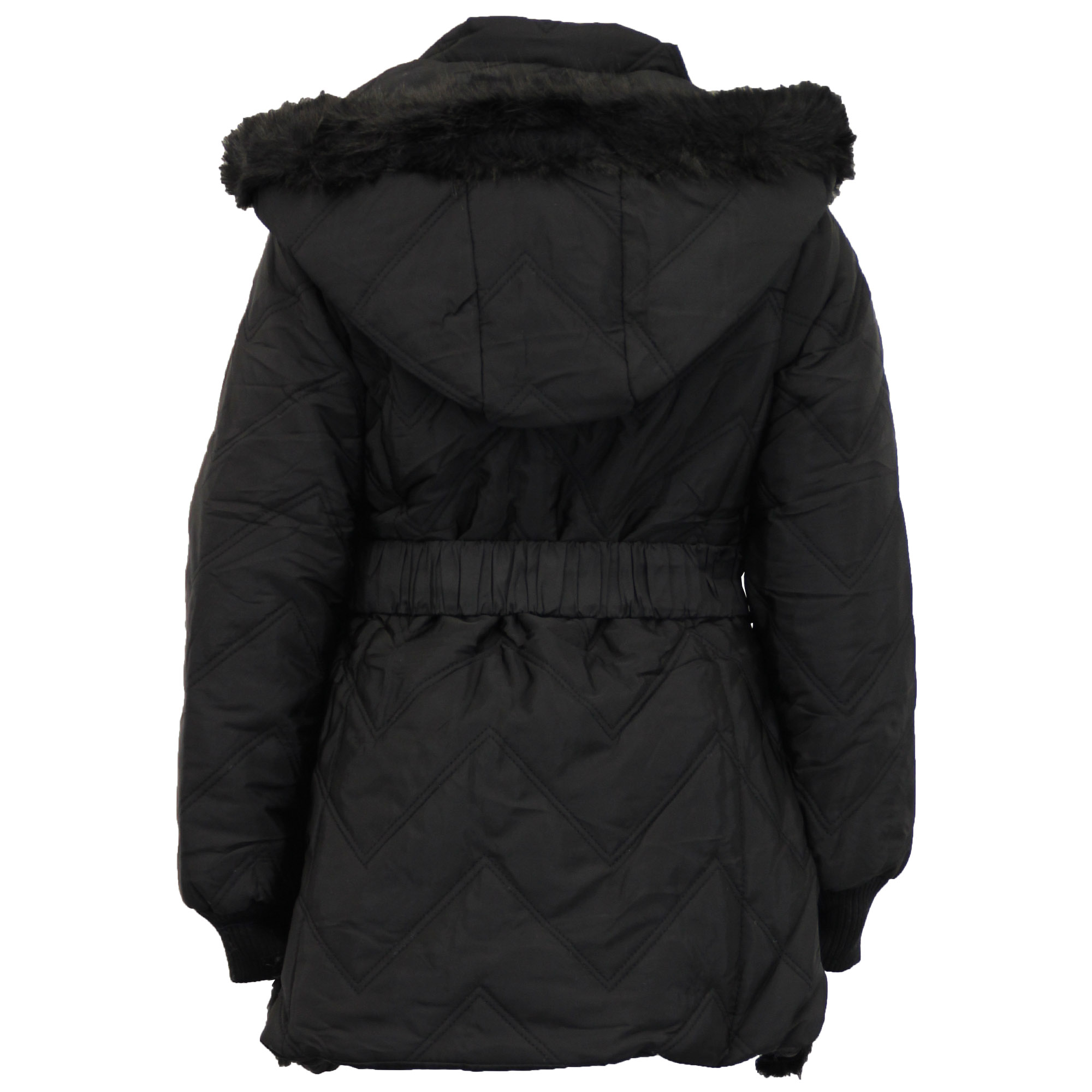 2ba9895321c7 Girls Padded Jacket Kids Coat Fur Hooded Quilted BELT Sherpa Fleece ...