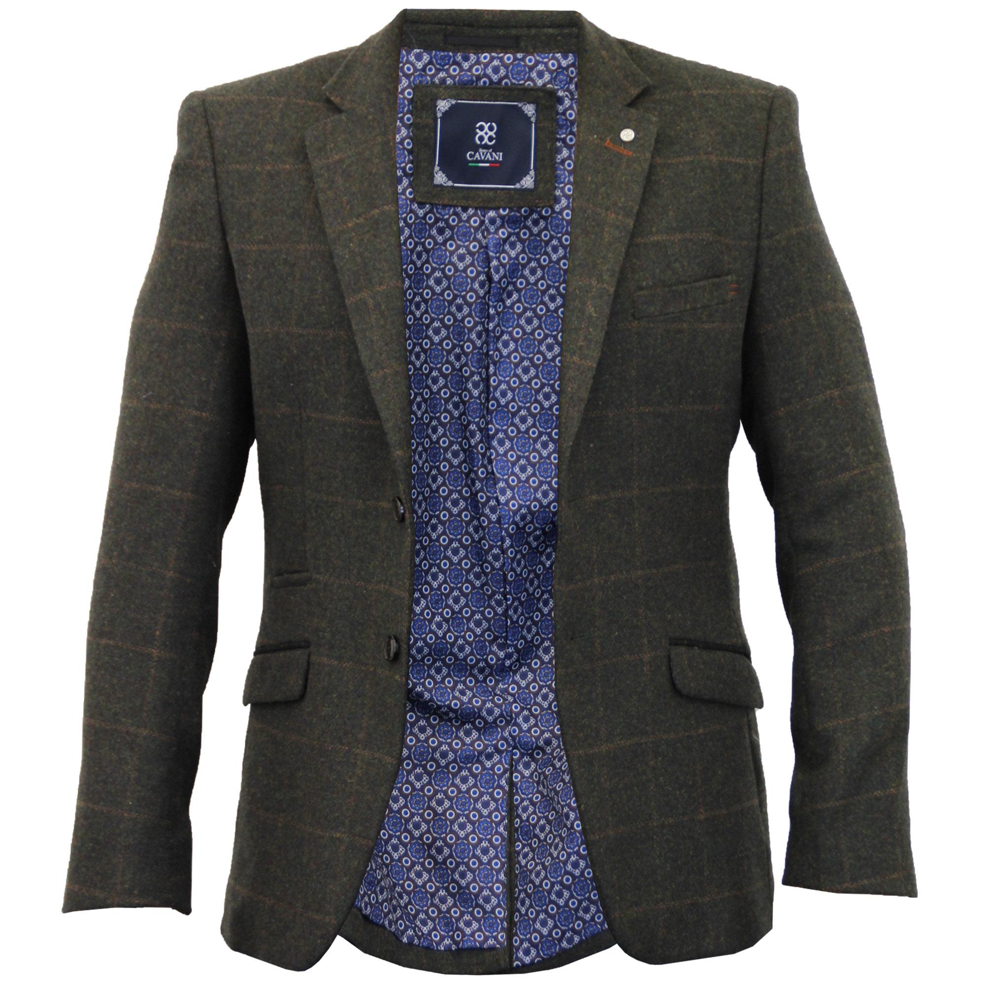Mens Blazer Cavani Coat Wool Mix Checked Suit Jacket Slim Fit Formal Wedding New